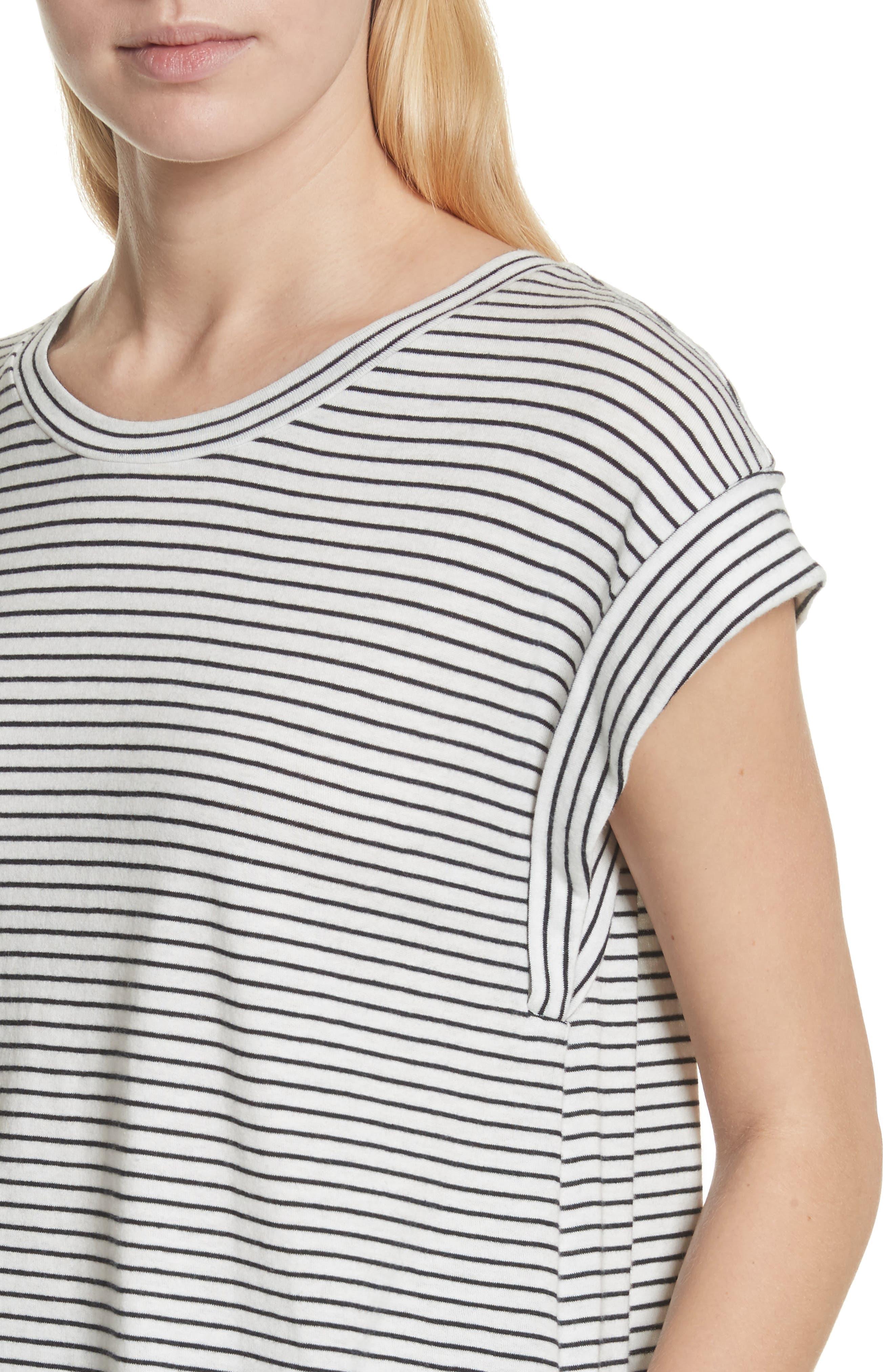 Classic Stripe Rolled Sleeve Cotton Tee,                             Alternate thumbnail 4, color,                             Vanilla/ Coastal