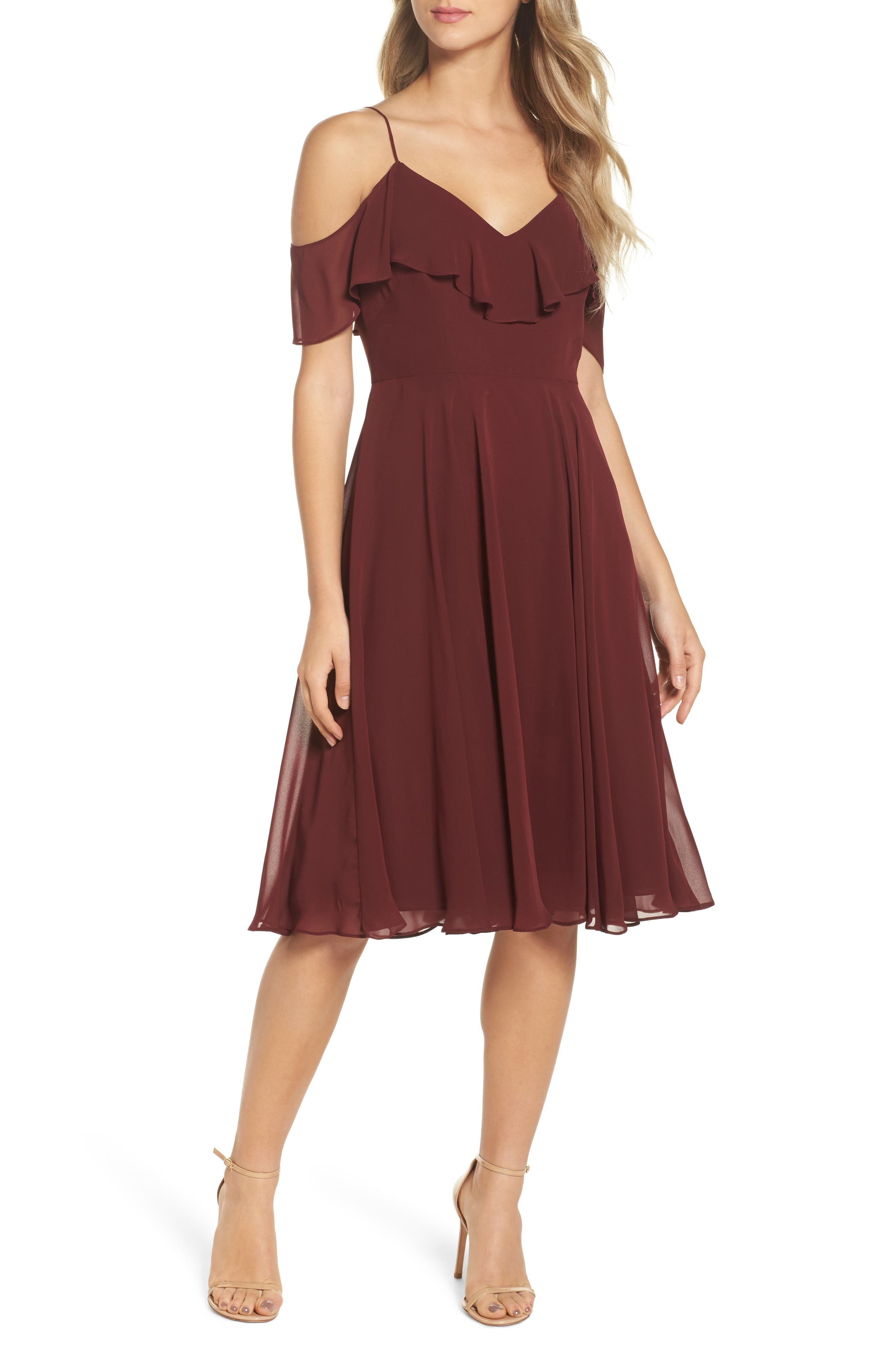 Kelli Cold Shoulder Chiffon Dress,                         Main,                         color, Hibiscus
