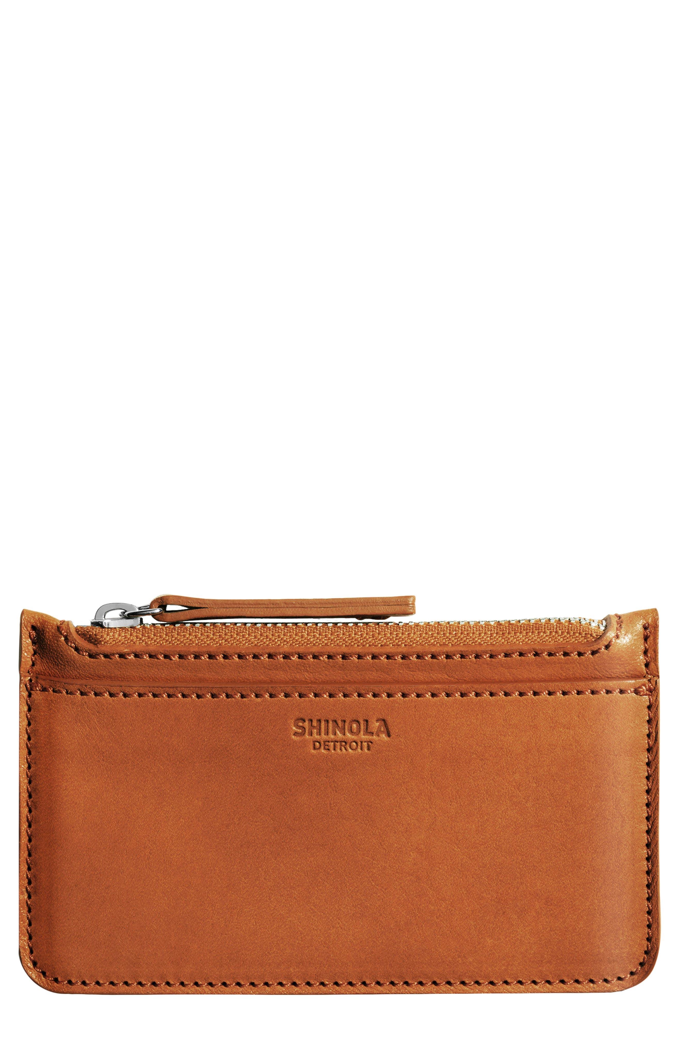 Leather Zip Pouch,                         Main,                         color, Bourbon