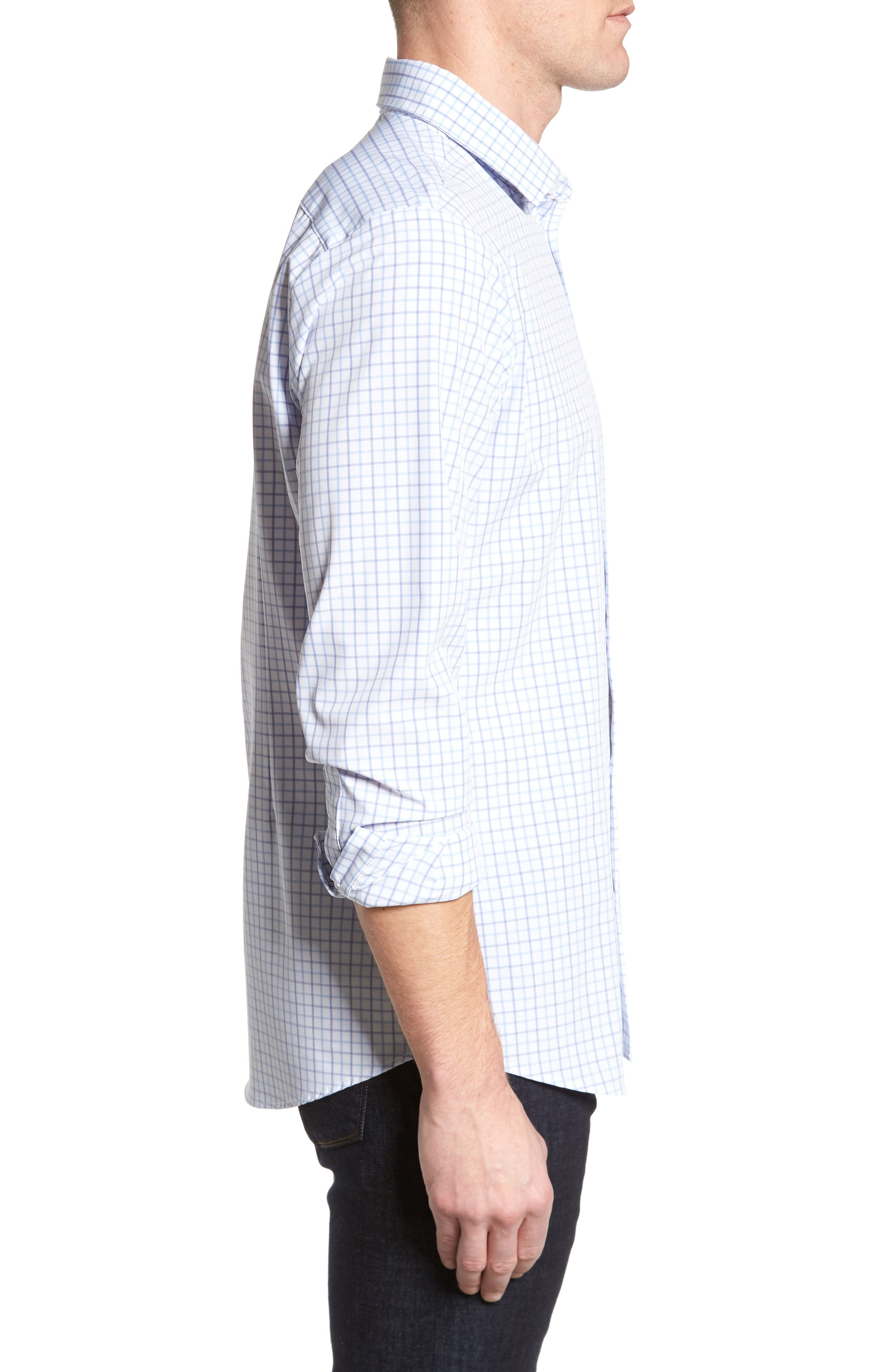Hallandale Dusty Lavender Check Sport Shirt,                             Alternate thumbnail 4, color,                             White