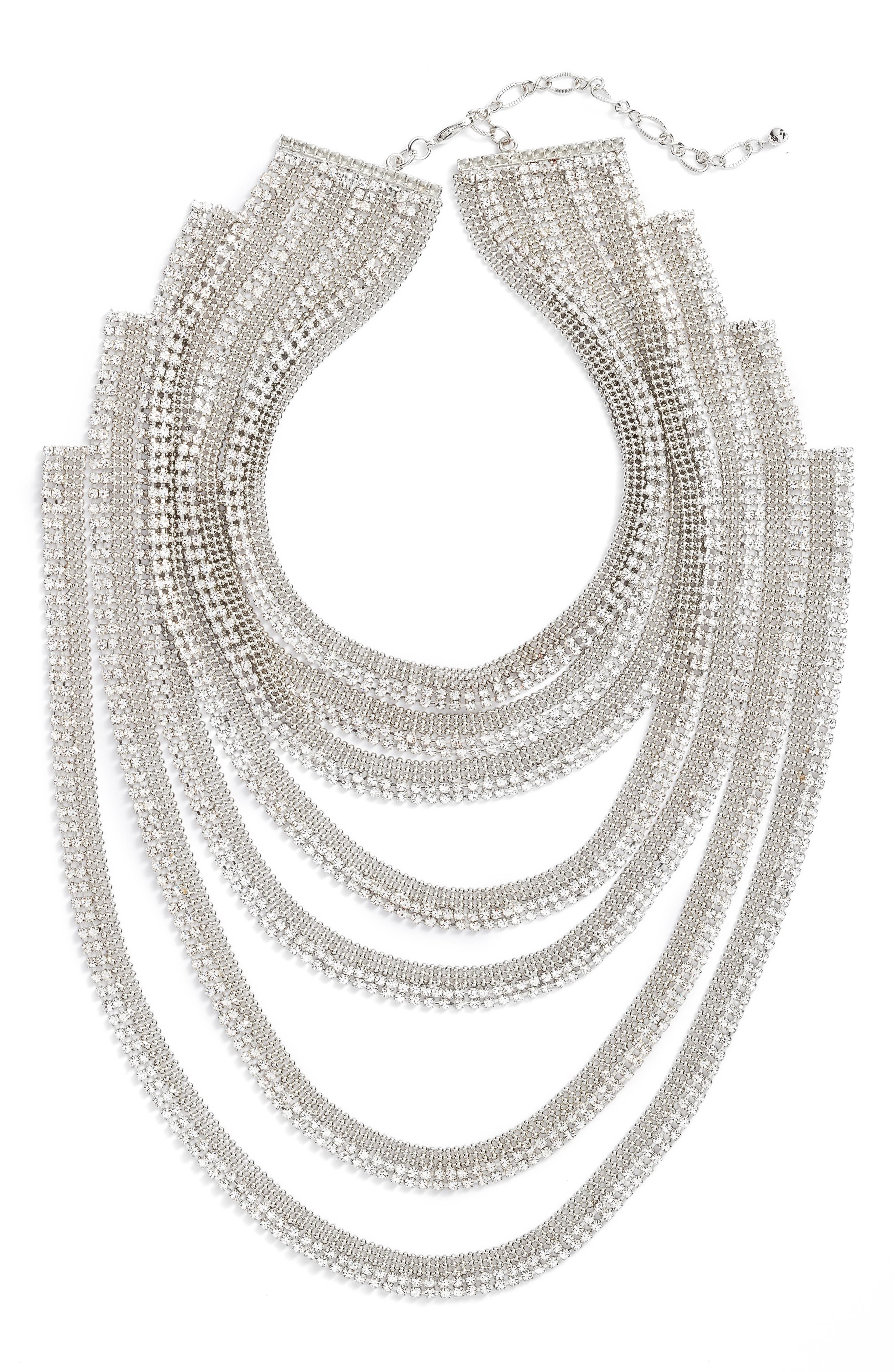Multistrand Statement Necklace,                         Main,                         color, Silver