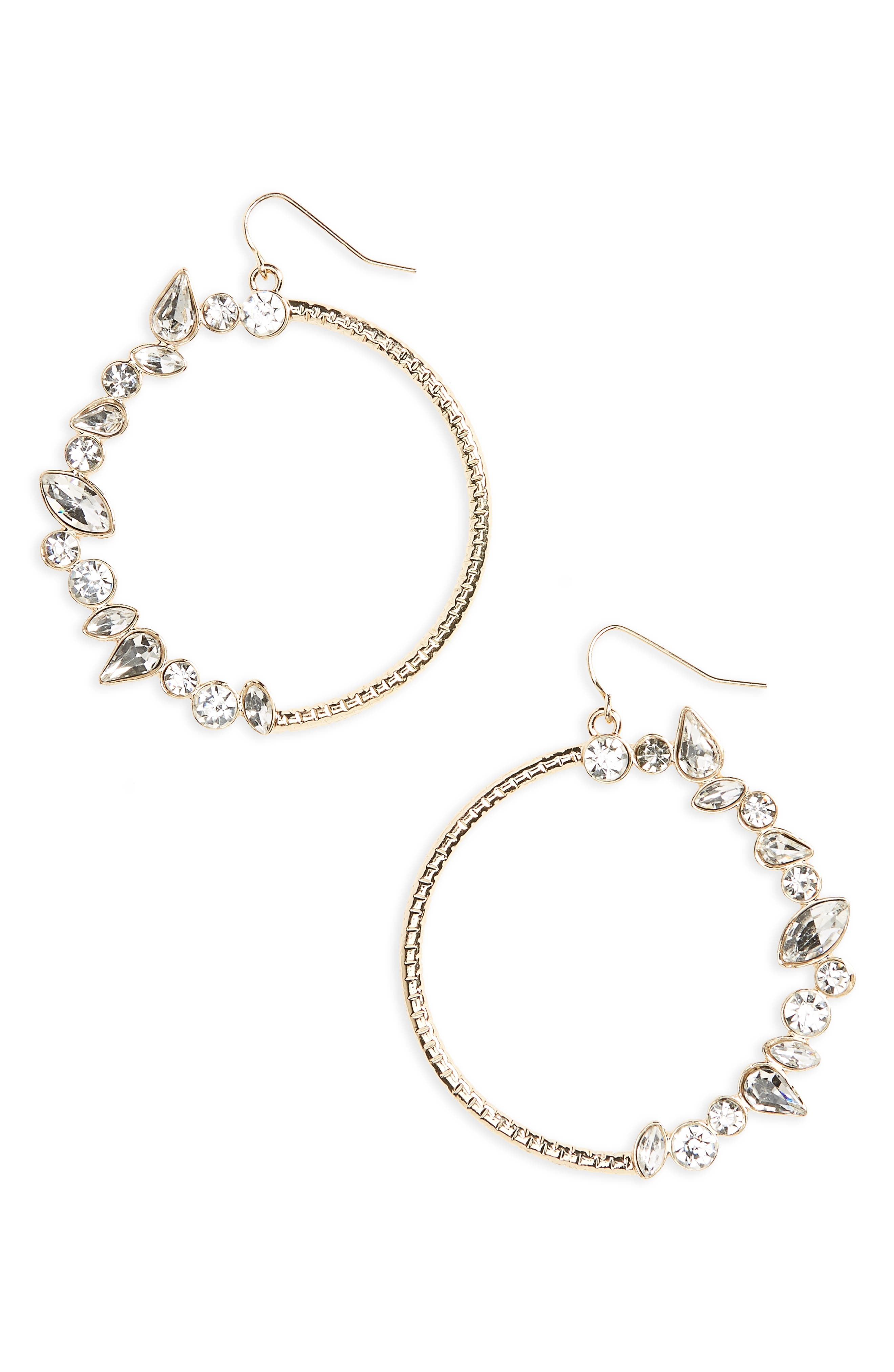 Main Image - Natasha Crystal Hoop Earrings