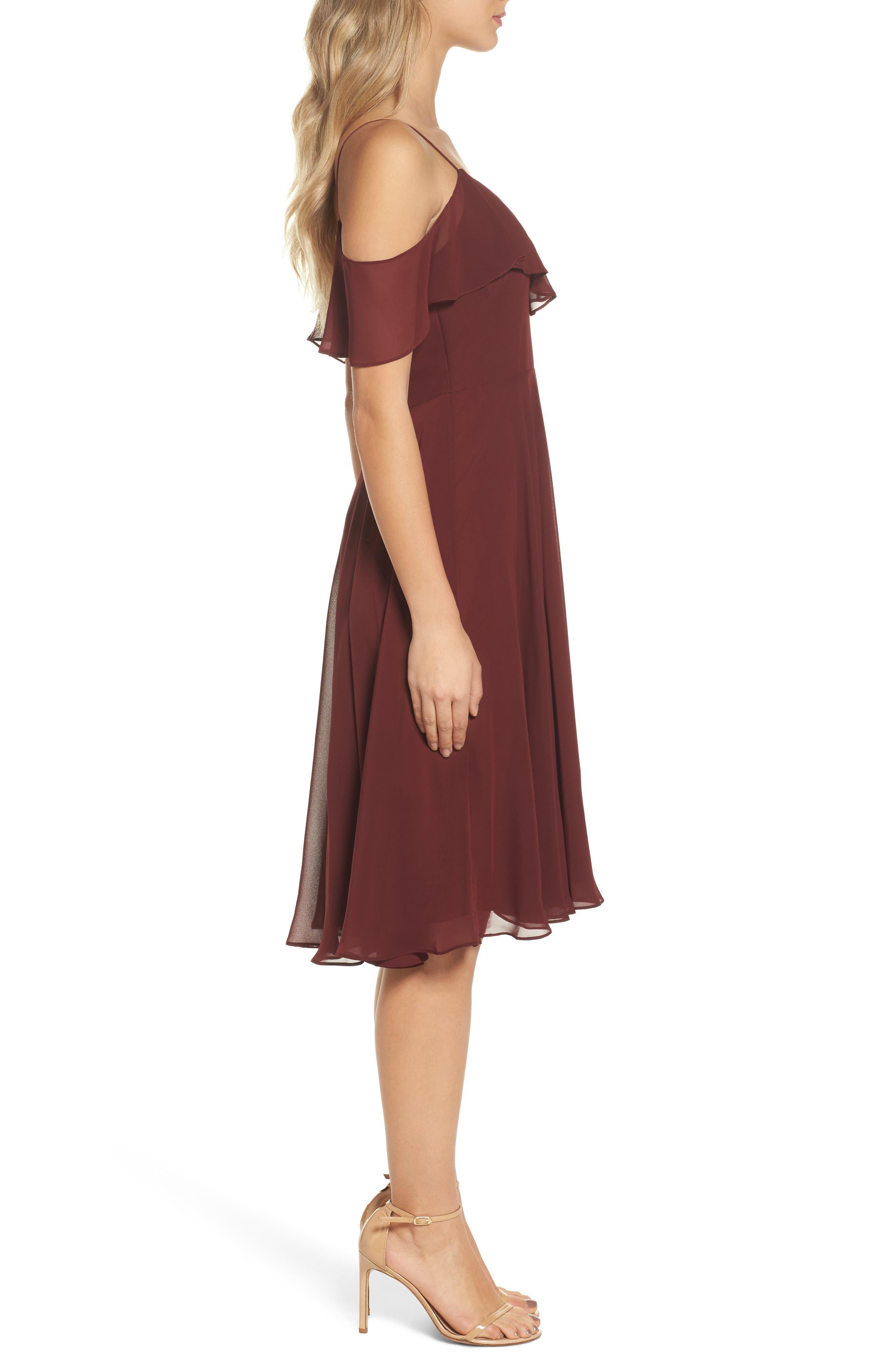 Kelli Cold Shoulder Chiffon Dress,                             Alternate thumbnail 3, color,                             Hibiscus