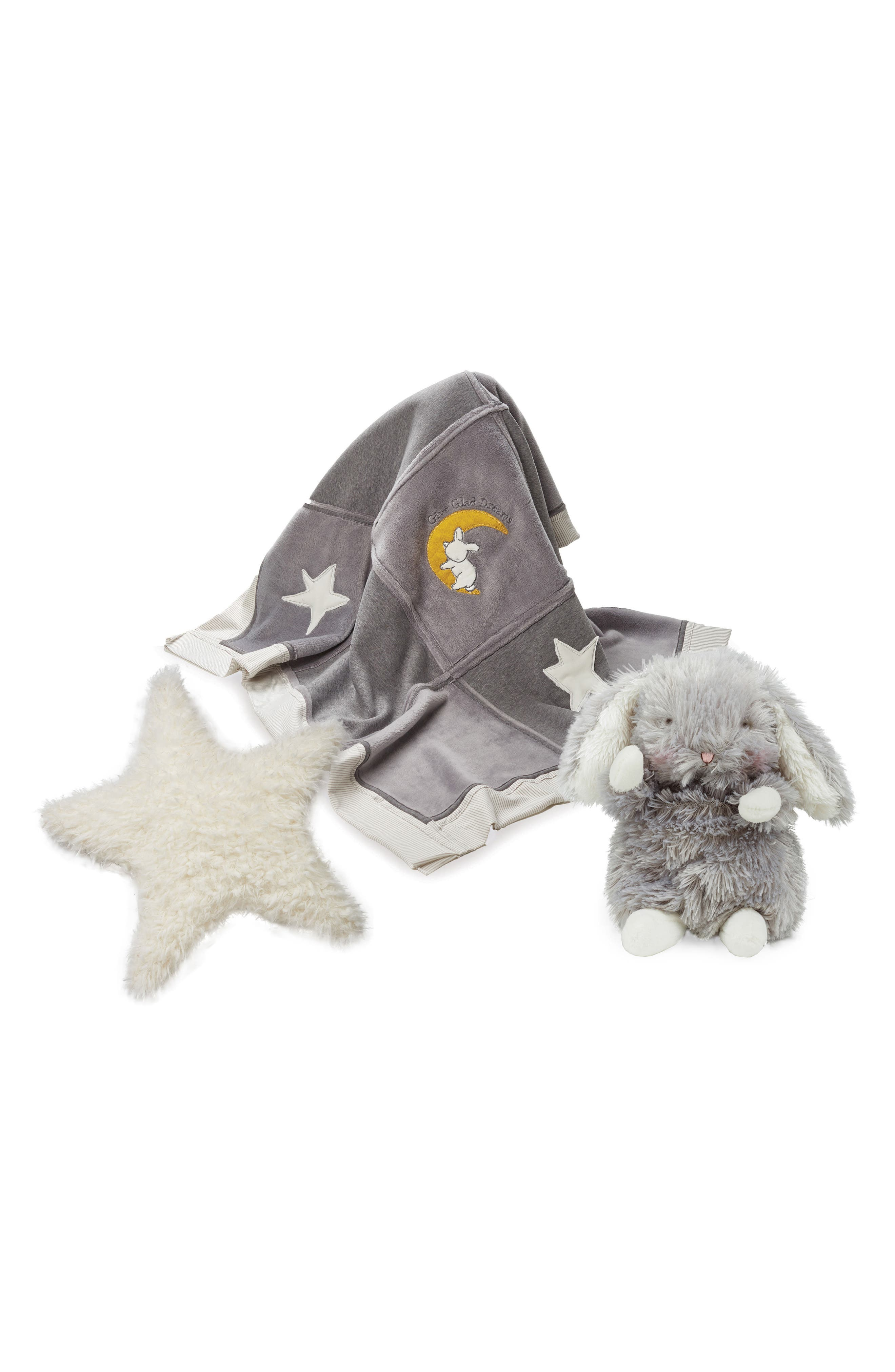 Bunnies by the Bay Glad Dreams Blanket, Pillow & Stuffed Animal Set