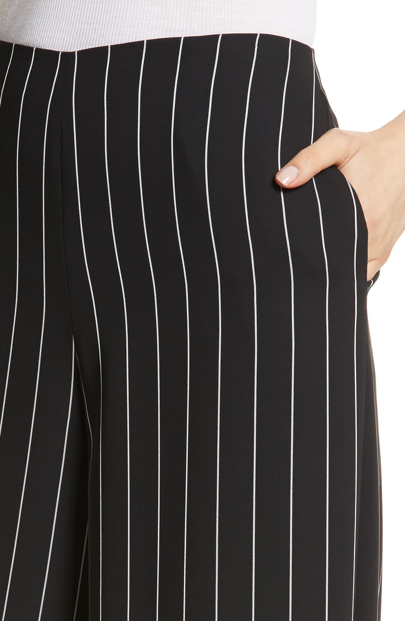 Wide Leg Stripe Trousers,                             Alternate thumbnail 4, color,                             Jet