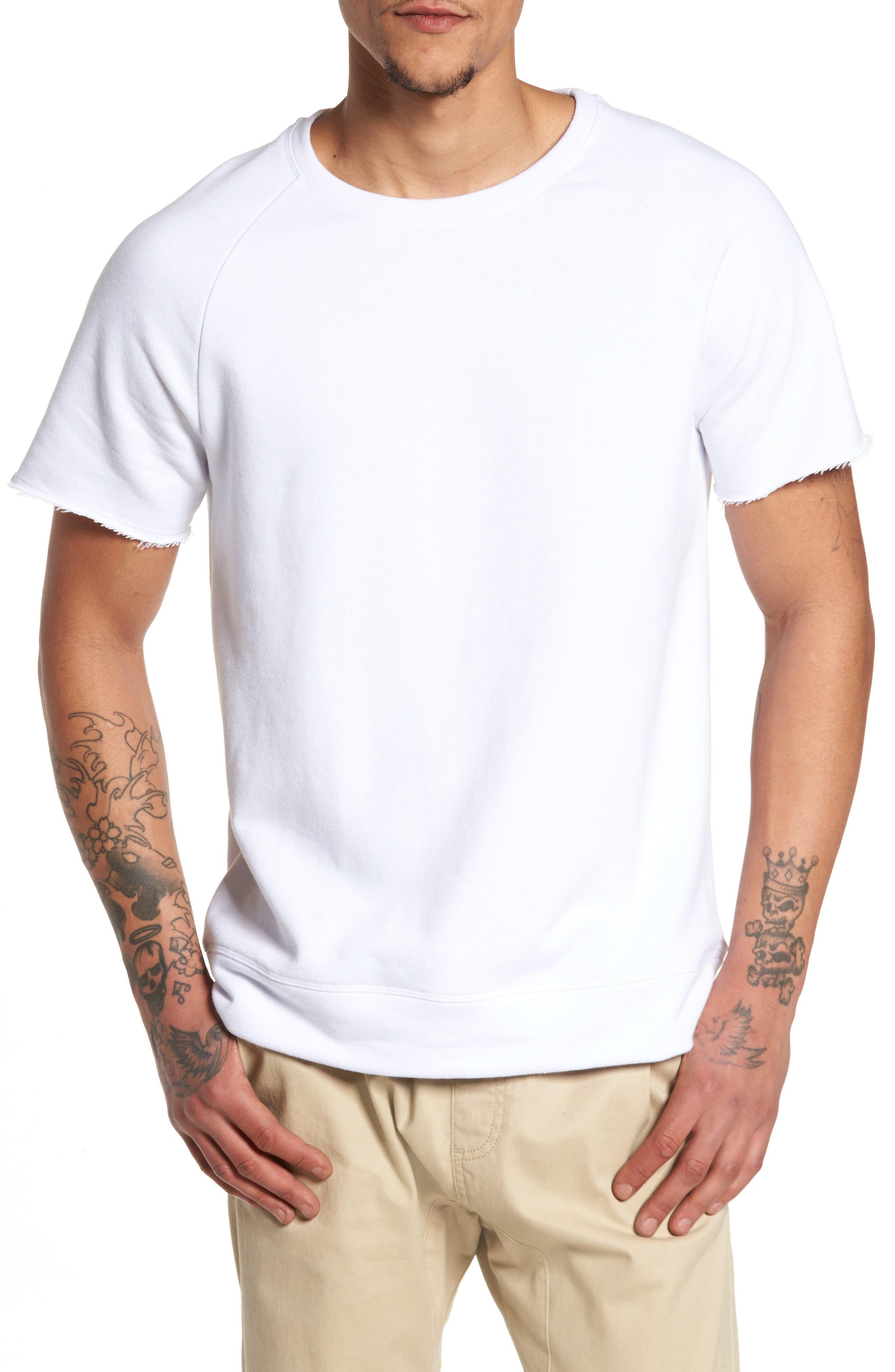 Raw Edge Raglan T-Shirt,                         Main,                         color, White