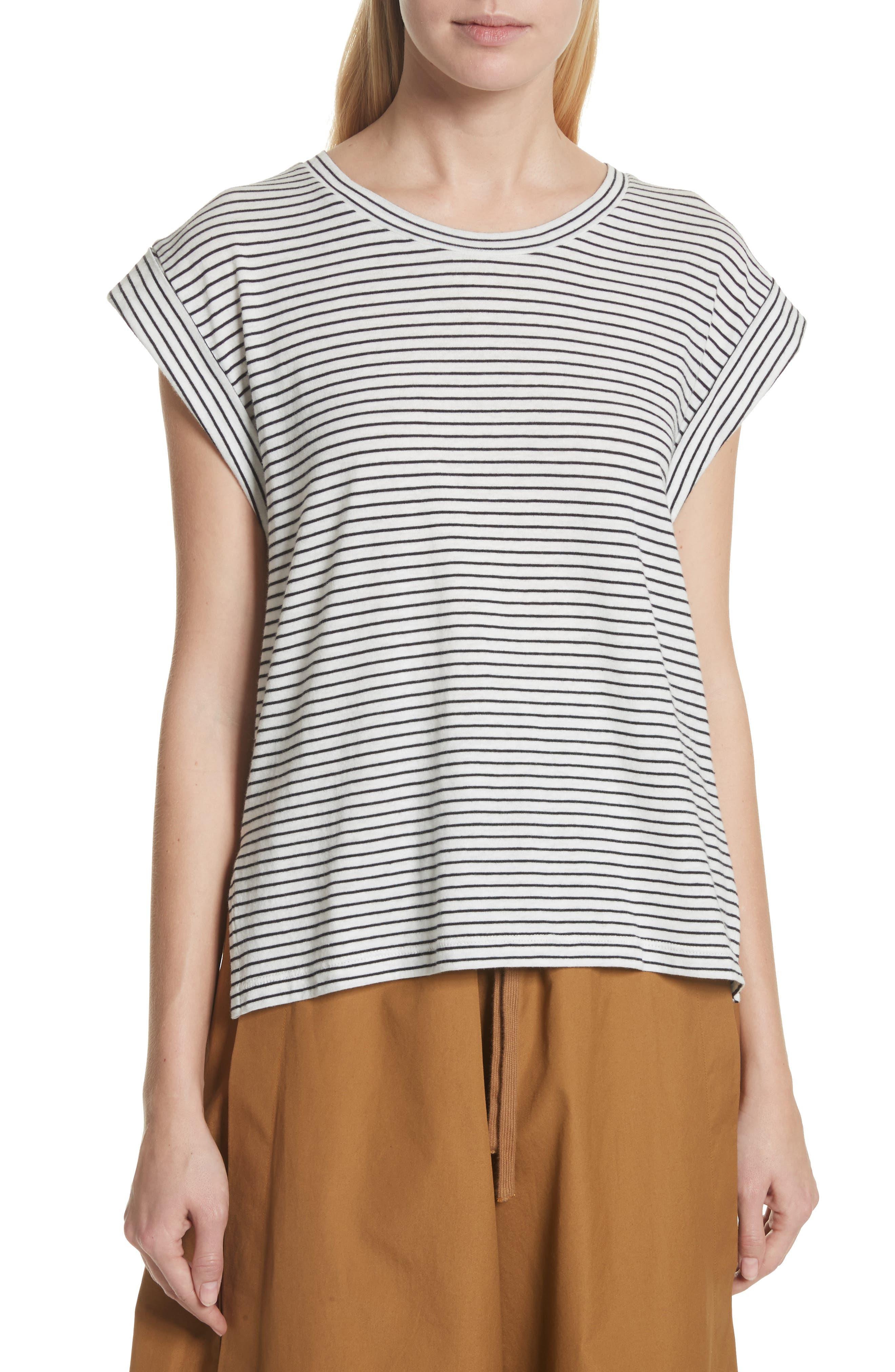Classic Stripe Rolled Sleeve Cotton Tee,                         Main,                         color, Vanilla/ Coastal
