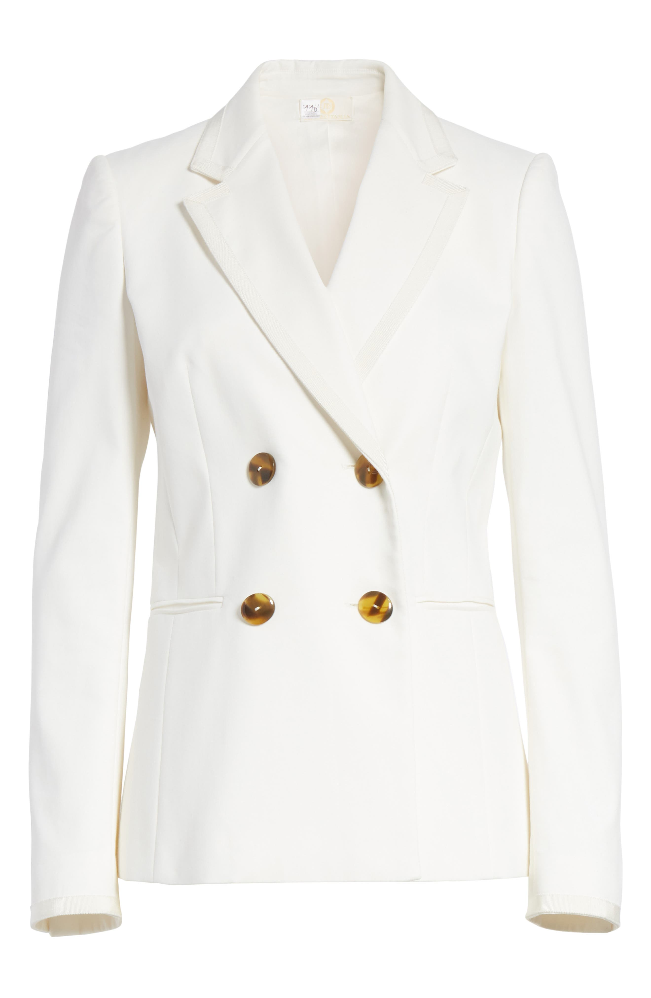 Double Breasted Blazer,                             Alternate thumbnail 6, color,                             White