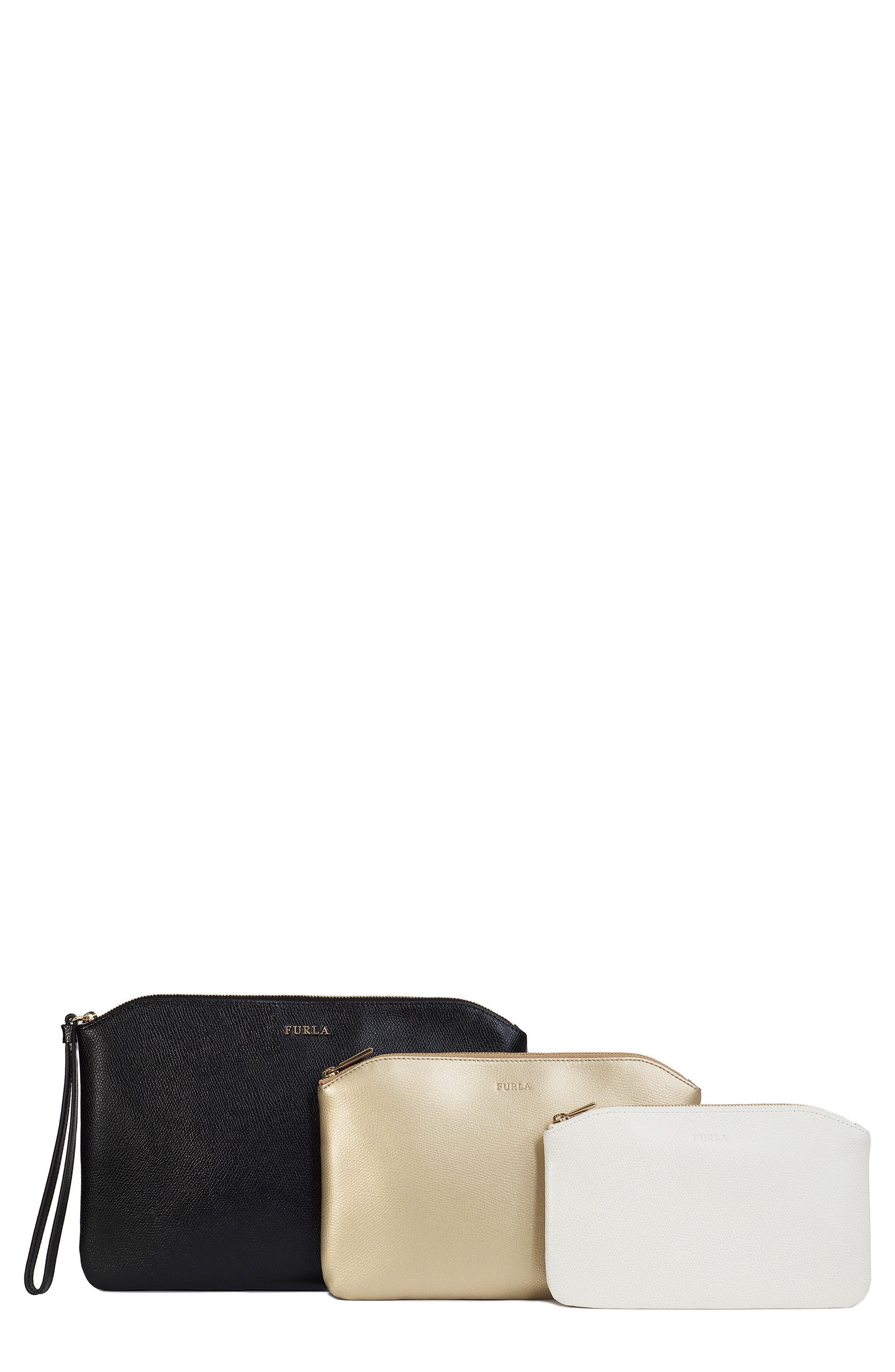 Venere Set of 3 Leather Cosmetic Bags,                         Main,                         color, Onyx/ Gold/ Petalo