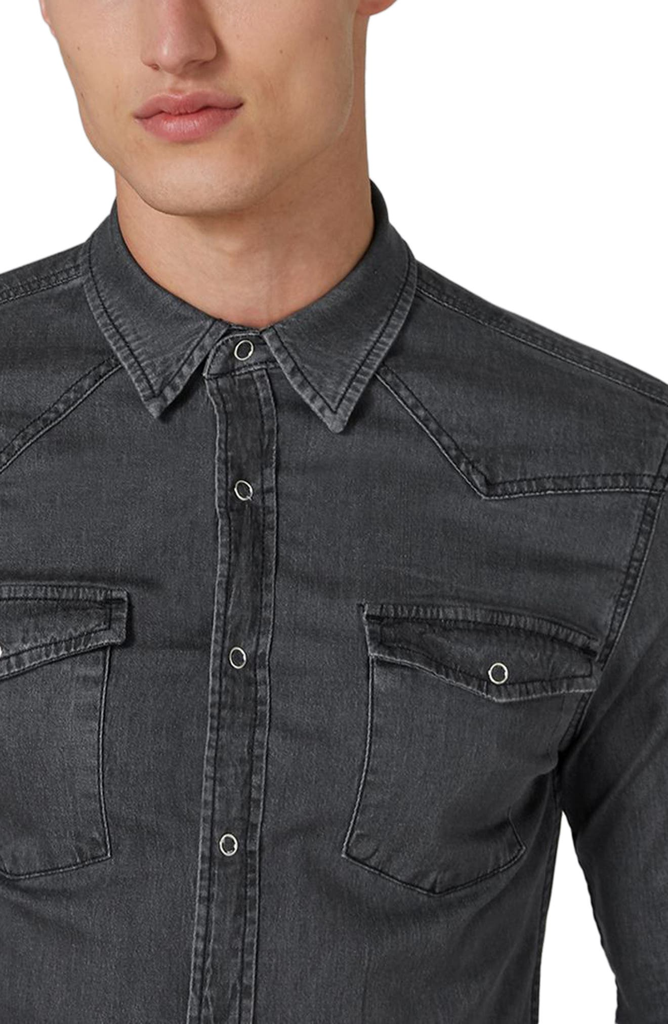 Muscle Fit Denim Western Shirt,                             Alternate thumbnail 3, color,                             Washed Black