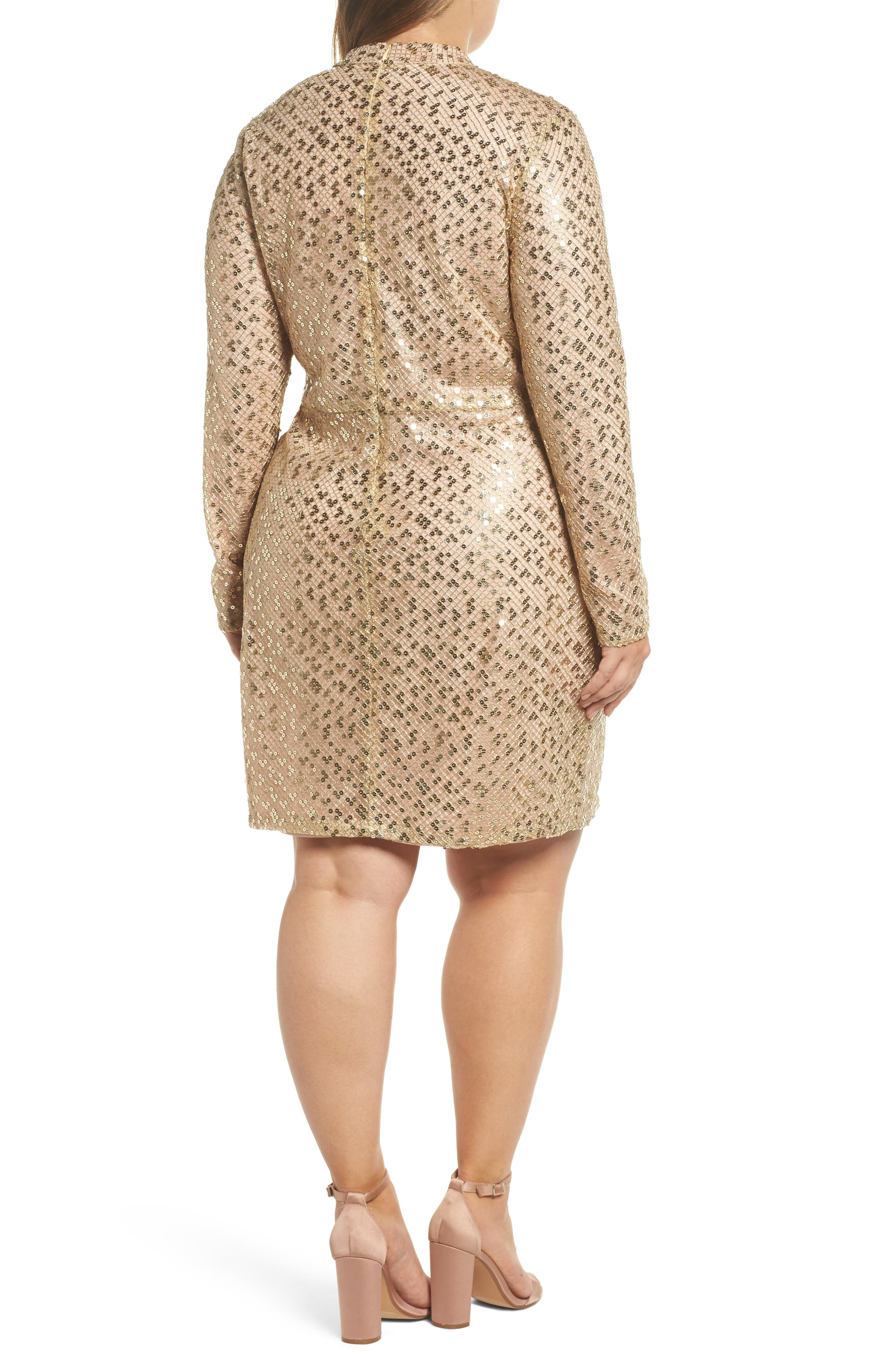 Mock Neck Sequin Embroidered Body-Con Dress,                             Alternate thumbnail 2, color,                             Nude Gold