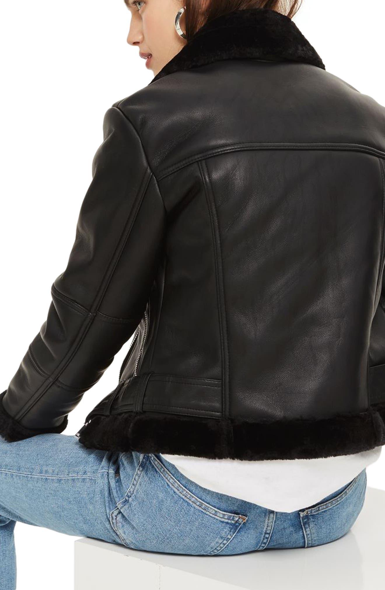 Finsbury Cropped Faux Shearling Biker Jacket,                             Alternate thumbnail 2, color,                             Black