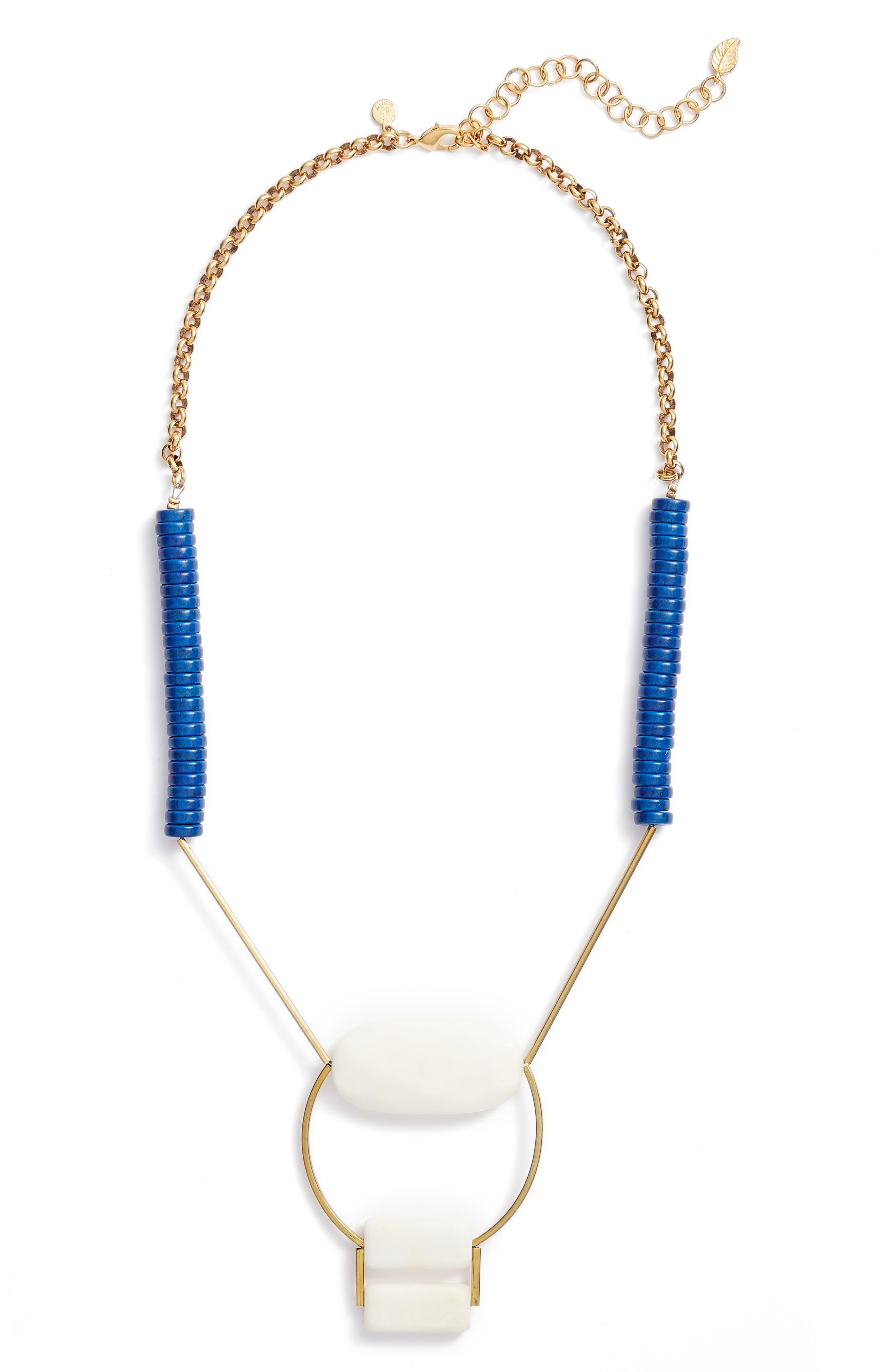Rylee Geometric Pendant Necklace,                             Alternate thumbnail 2, color,                             Blue/ White