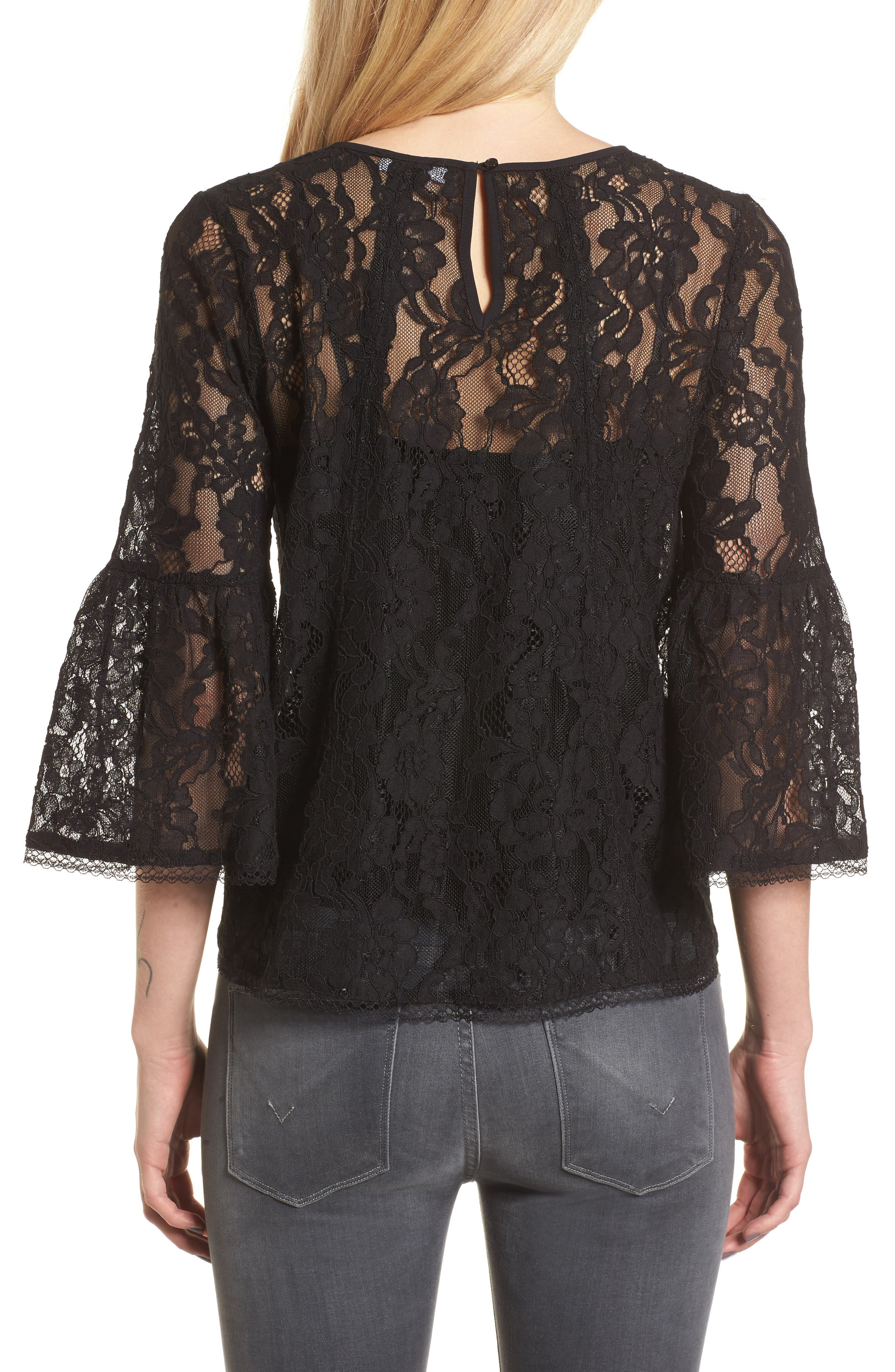 Bell Sleeve Lace Top,                             Alternate thumbnail 2, color,                             Black