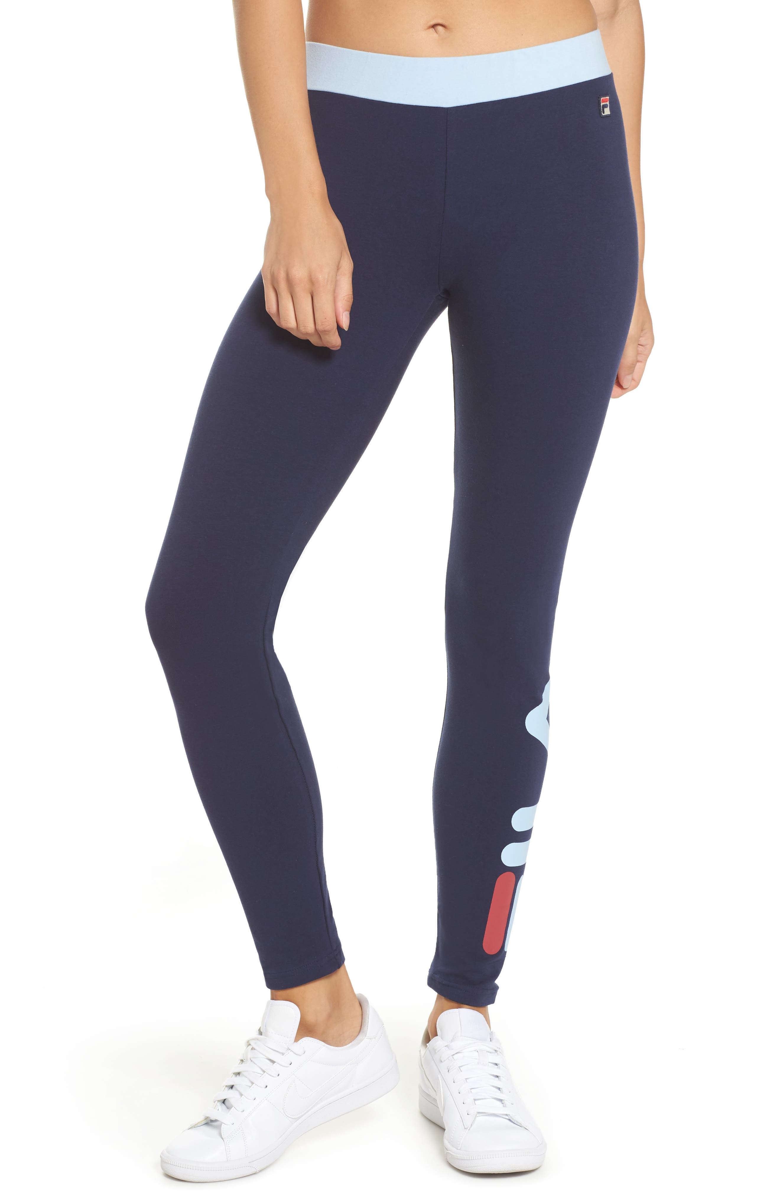 Imelda Training Tights,                         Main,                         color, Navy/ Skyway/ Rio Red