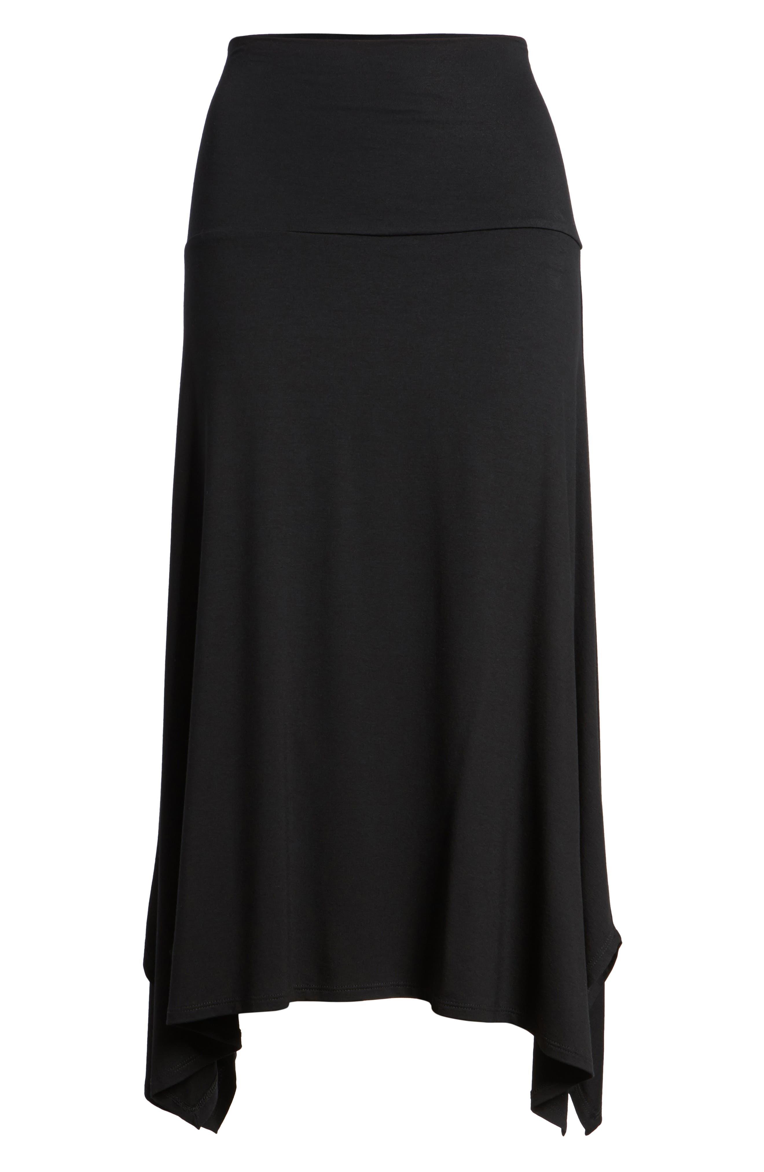 Flared Knit Skirt,                             Alternate thumbnail 6, color,                             Black