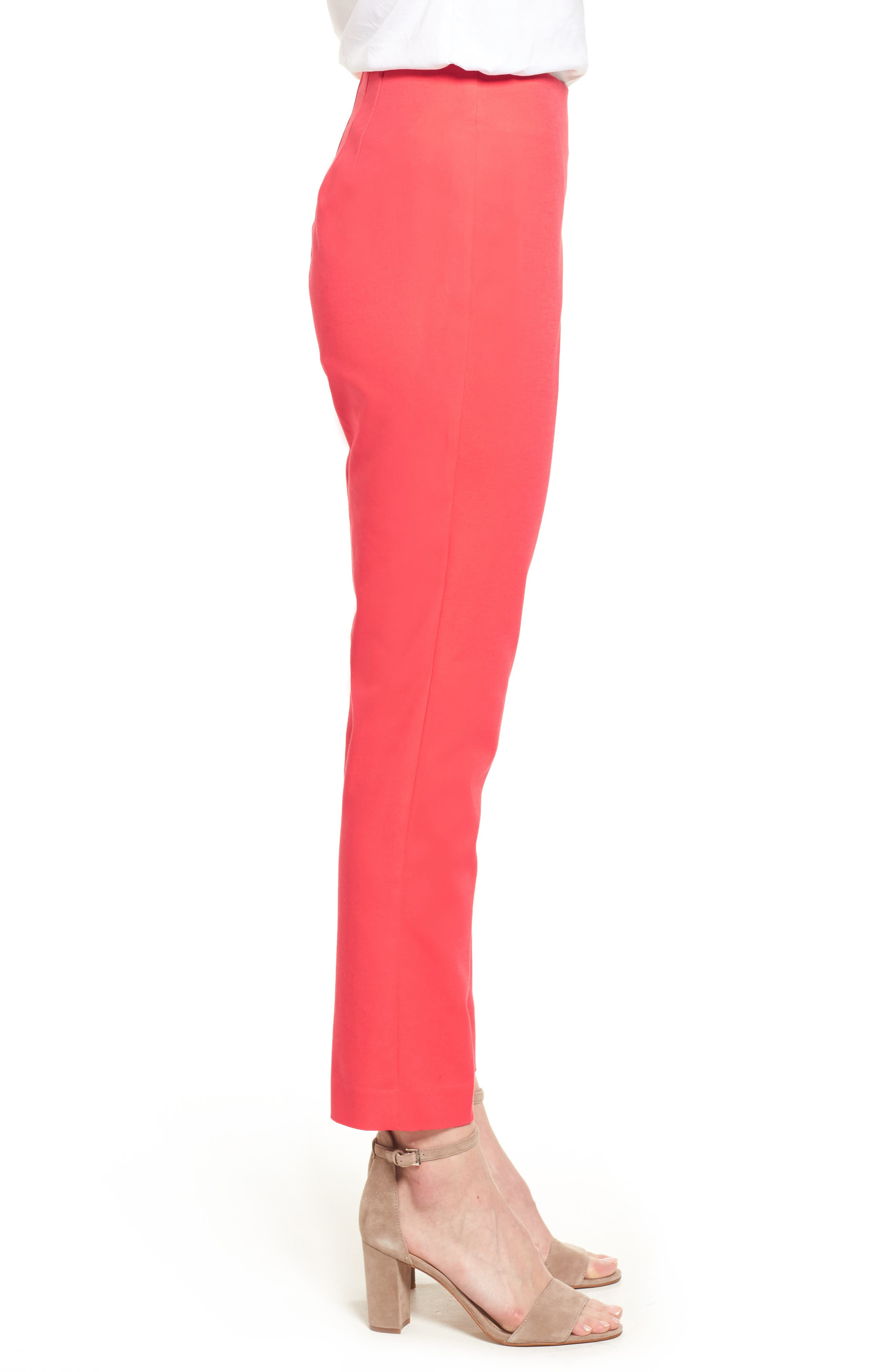 Stretch Cotton Skinny Pants,                             Alternate thumbnail 4, color,                             Melon