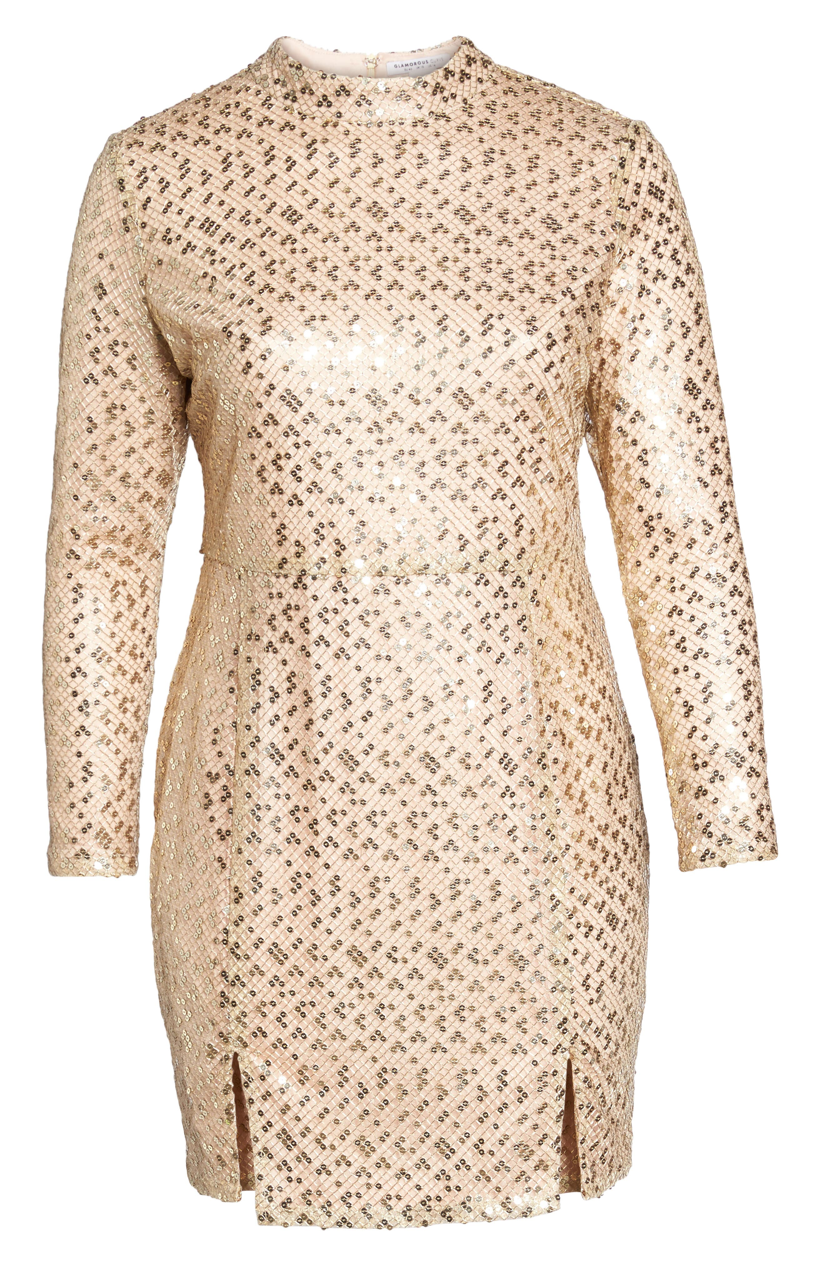 Mock Neck Sequin Embroidered Body-Con Dress,                             Alternate thumbnail 6, color,                             Nude Gold