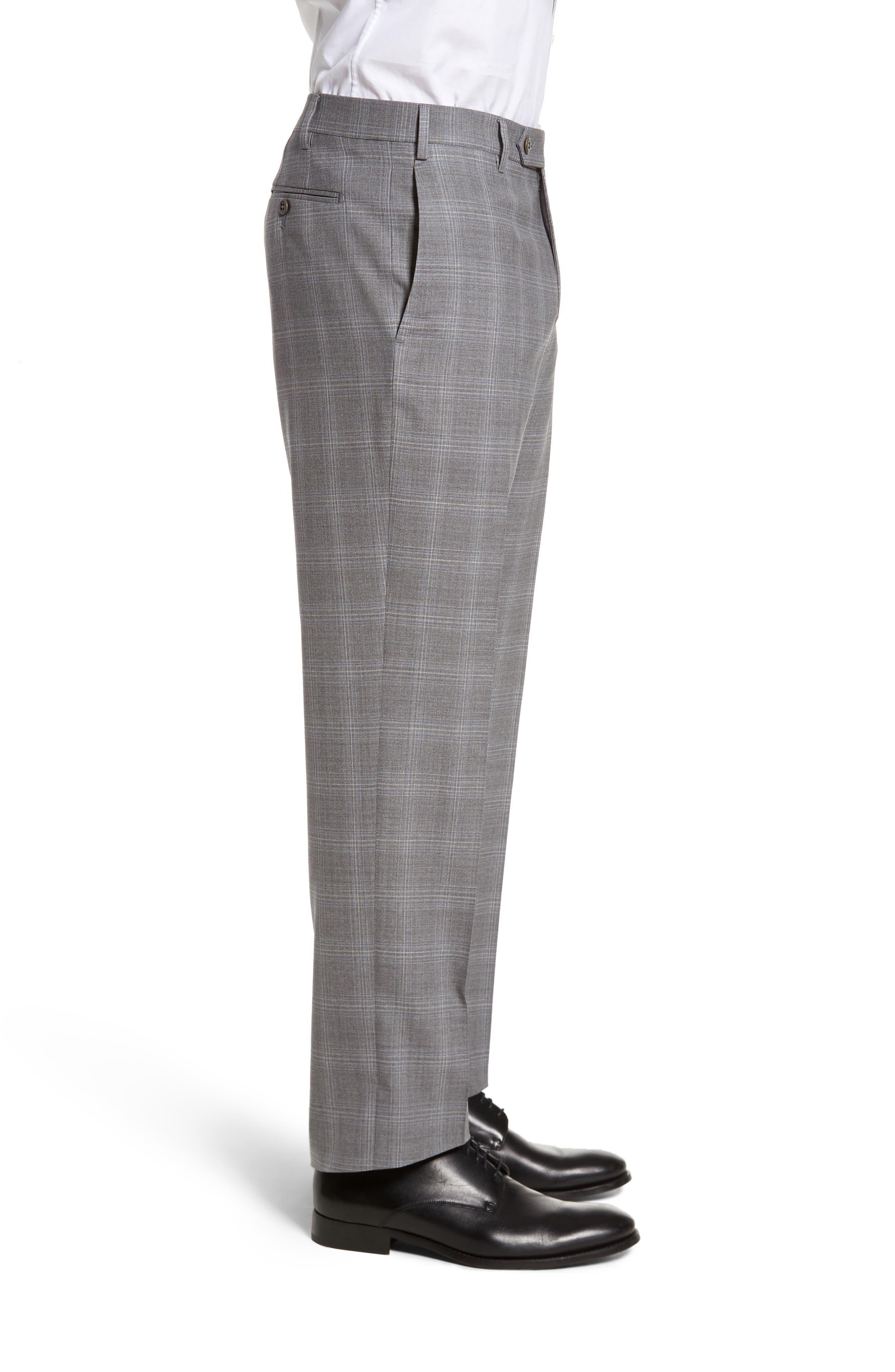 Devon Flat Front Plaid Wool Trousers,                             Alternate thumbnail 3, color,                             Light Grey
