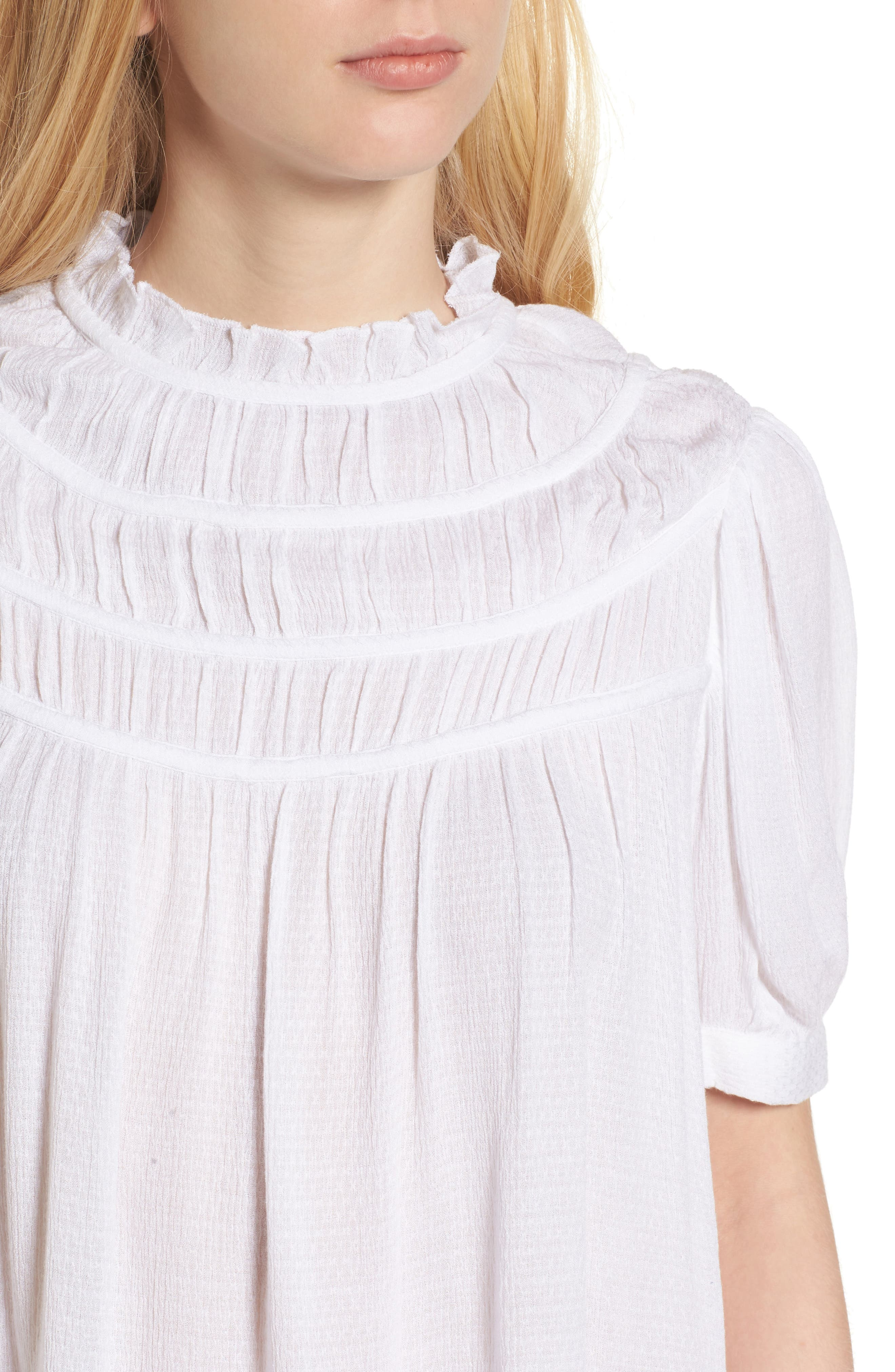 Ruched Puff Sleeve Top,                             Alternate thumbnail 4, color,                             White