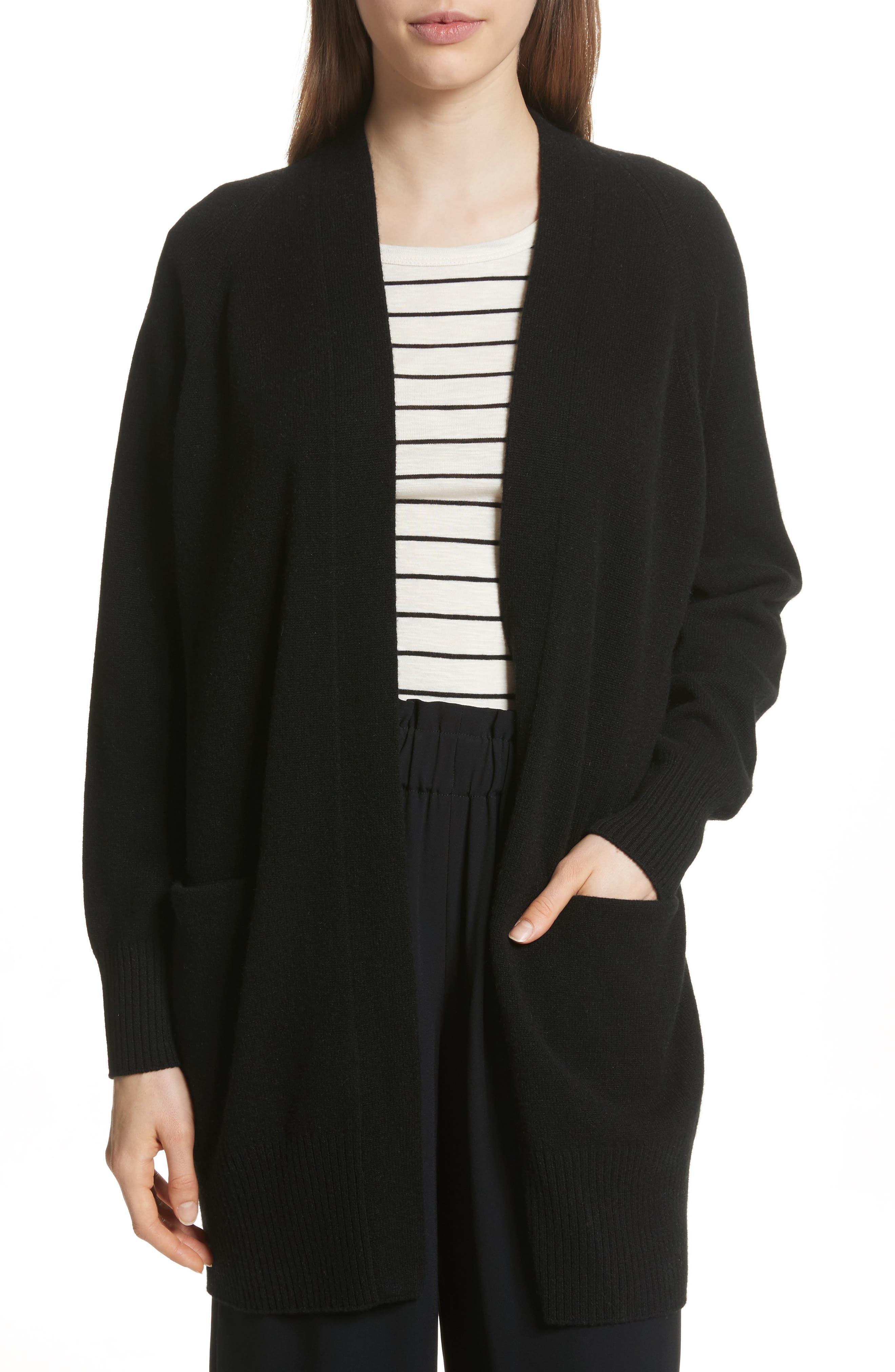 Open Front Cashmere Long Cardigan,                         Main,                         color, Black