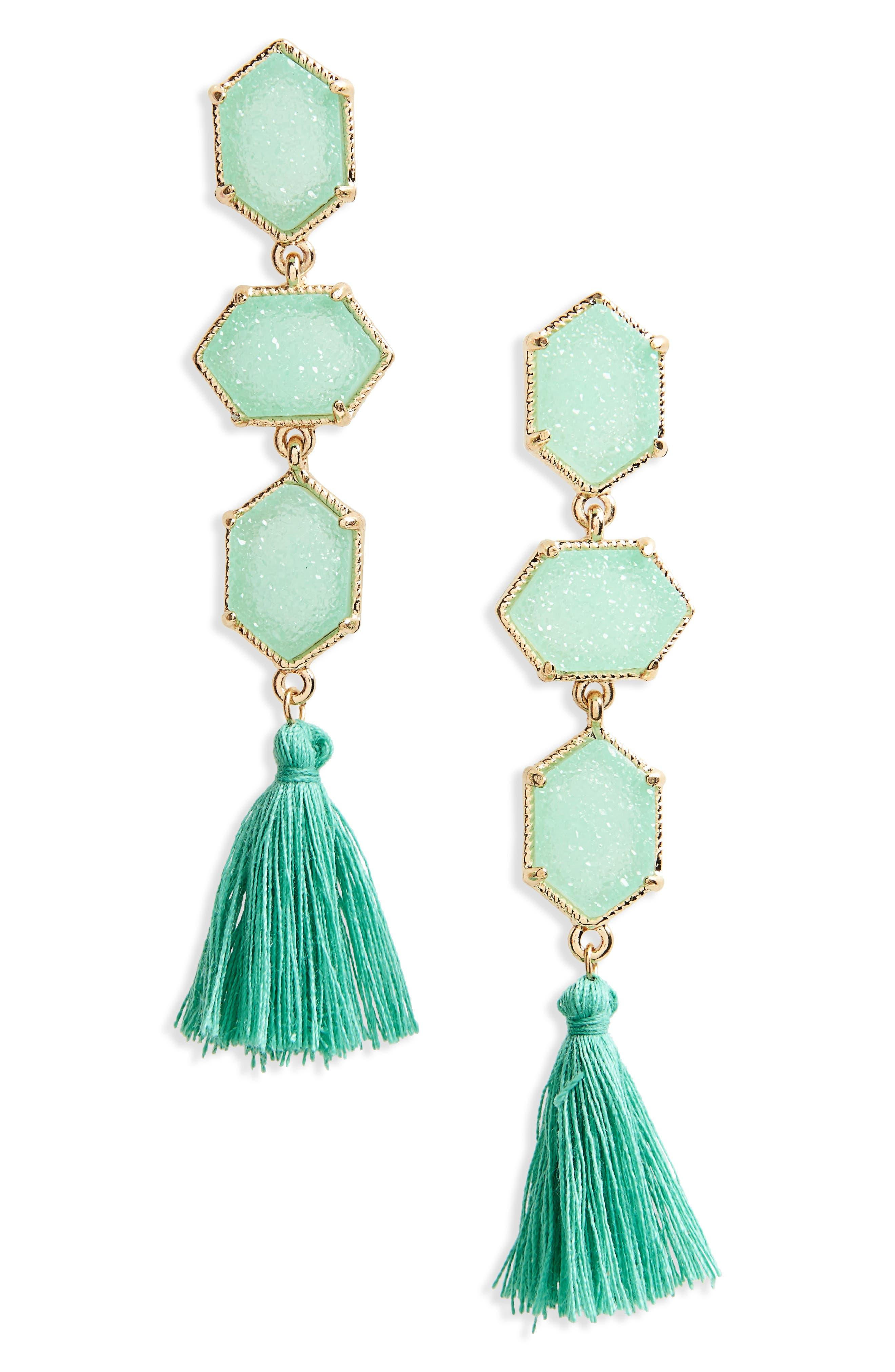 Faux Drusy Tassel Earrings,                         Main,                         color, Mint
