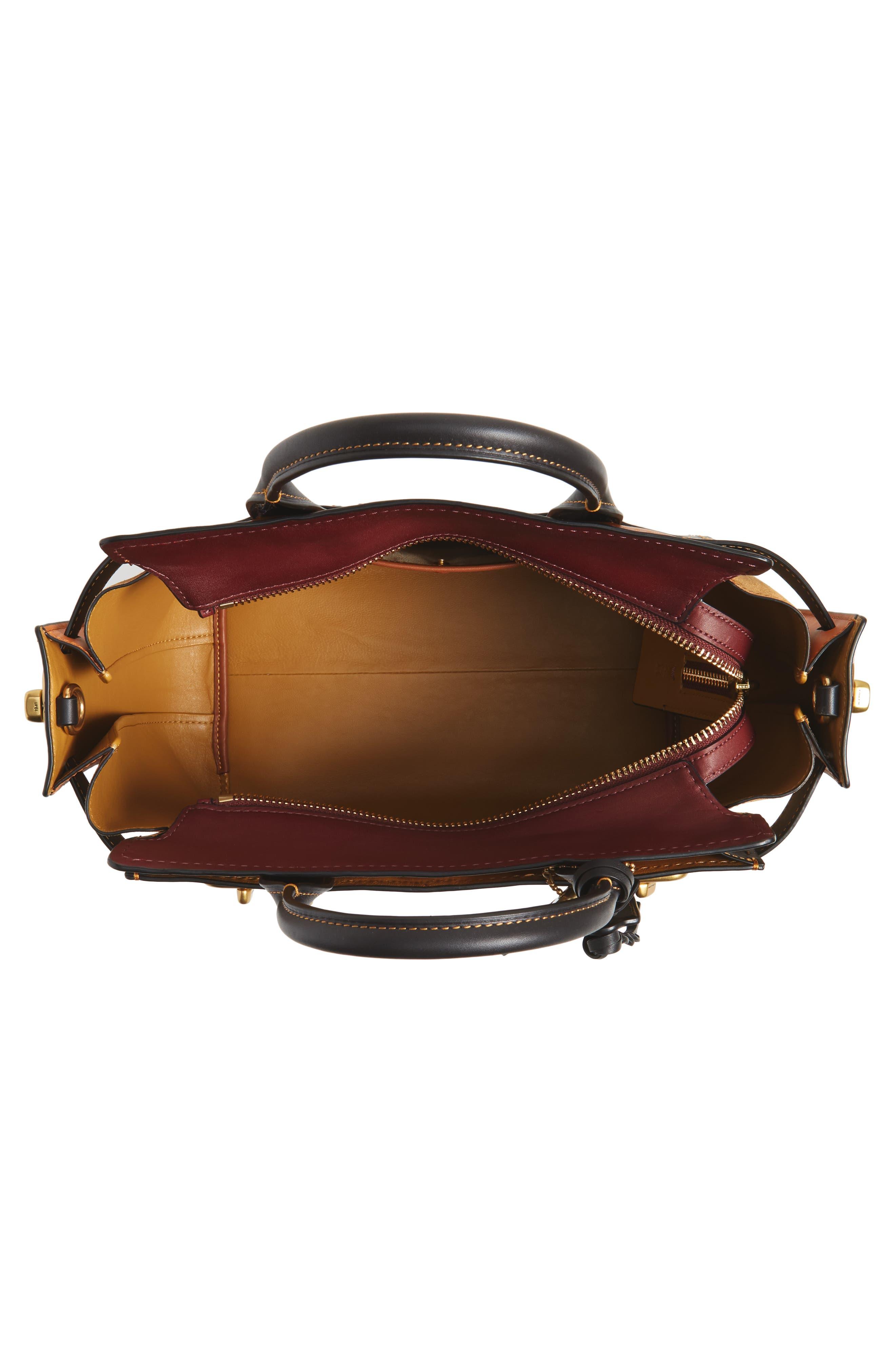 Double Swagger Leather Satchel,                             Alternate thumbnail 4, color,                             Black Multi
