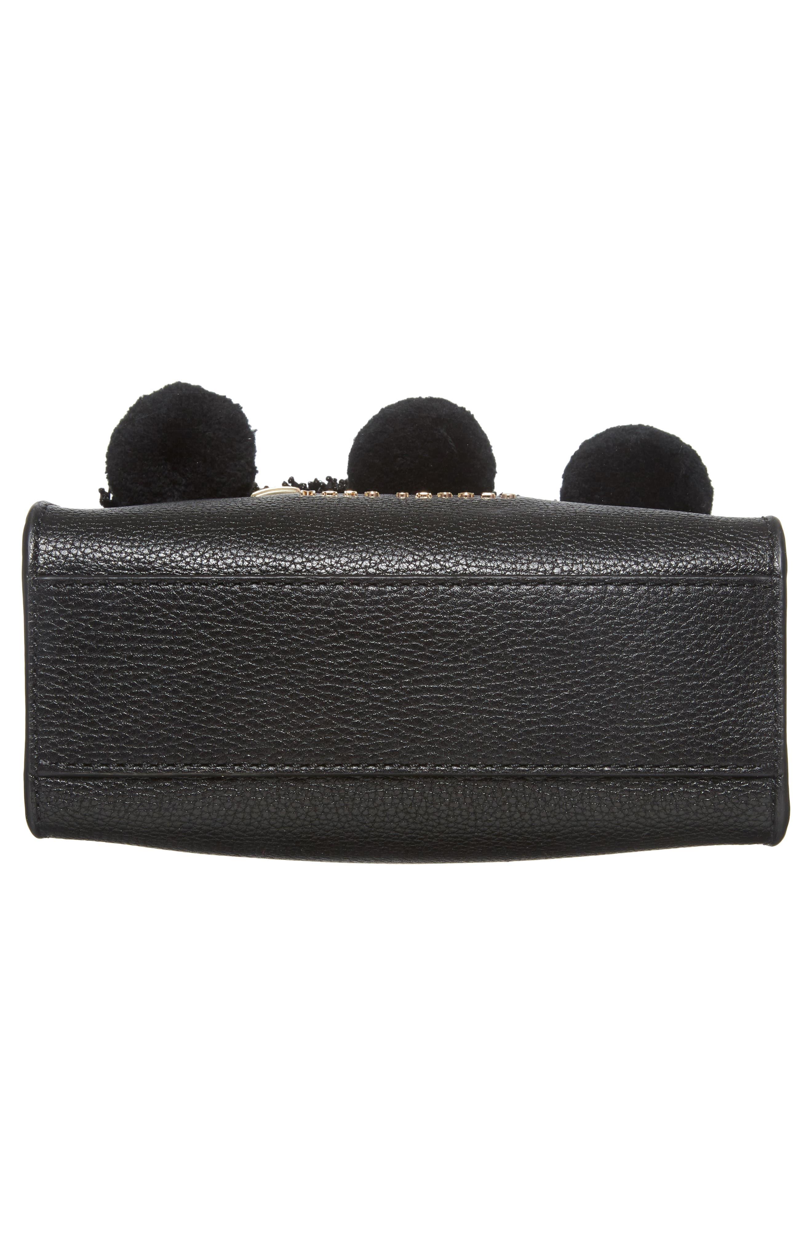 The Grind Mini Pompom Leather Tote,                             Alternate thumbnail 6, color,                             Black