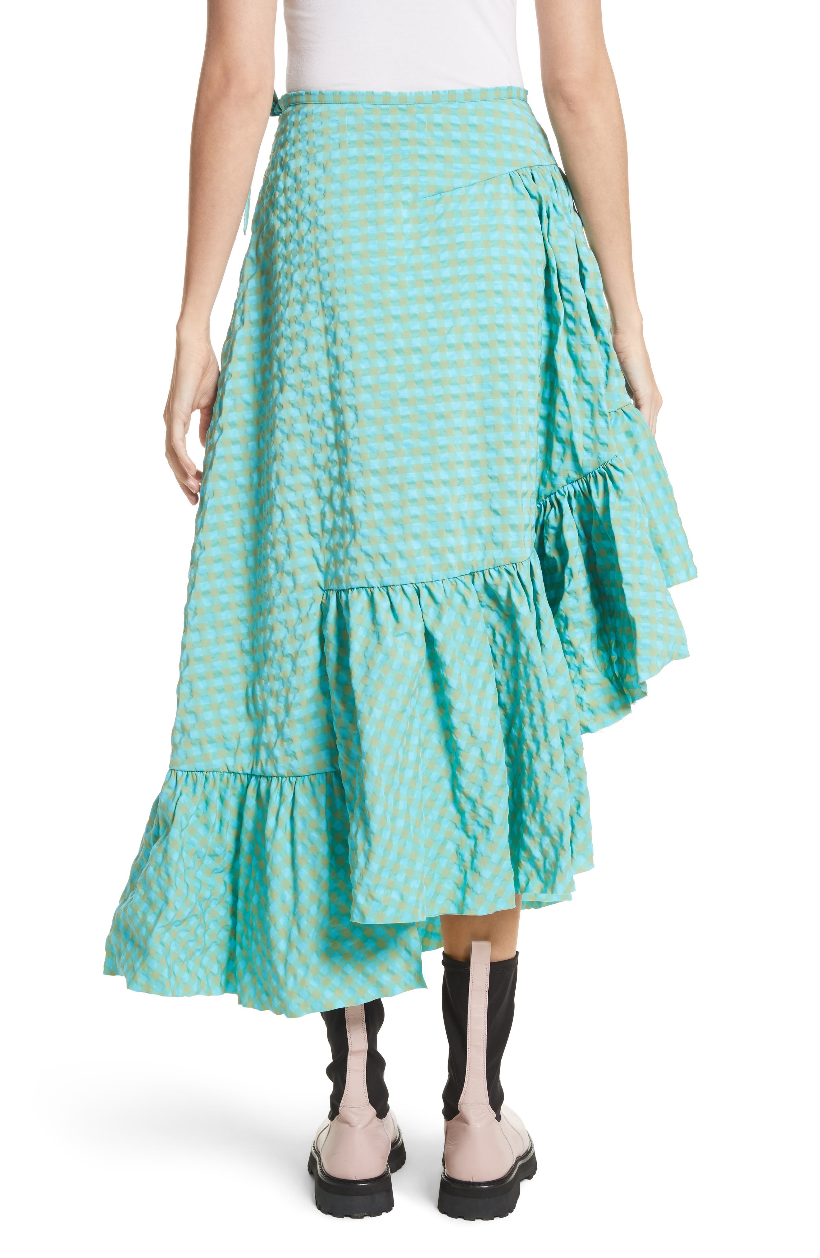 Marques'Almeida Long Asymmetrical Frill Skirt,                             Alternate thumbnail 2, color,                             Turquoise Gingham