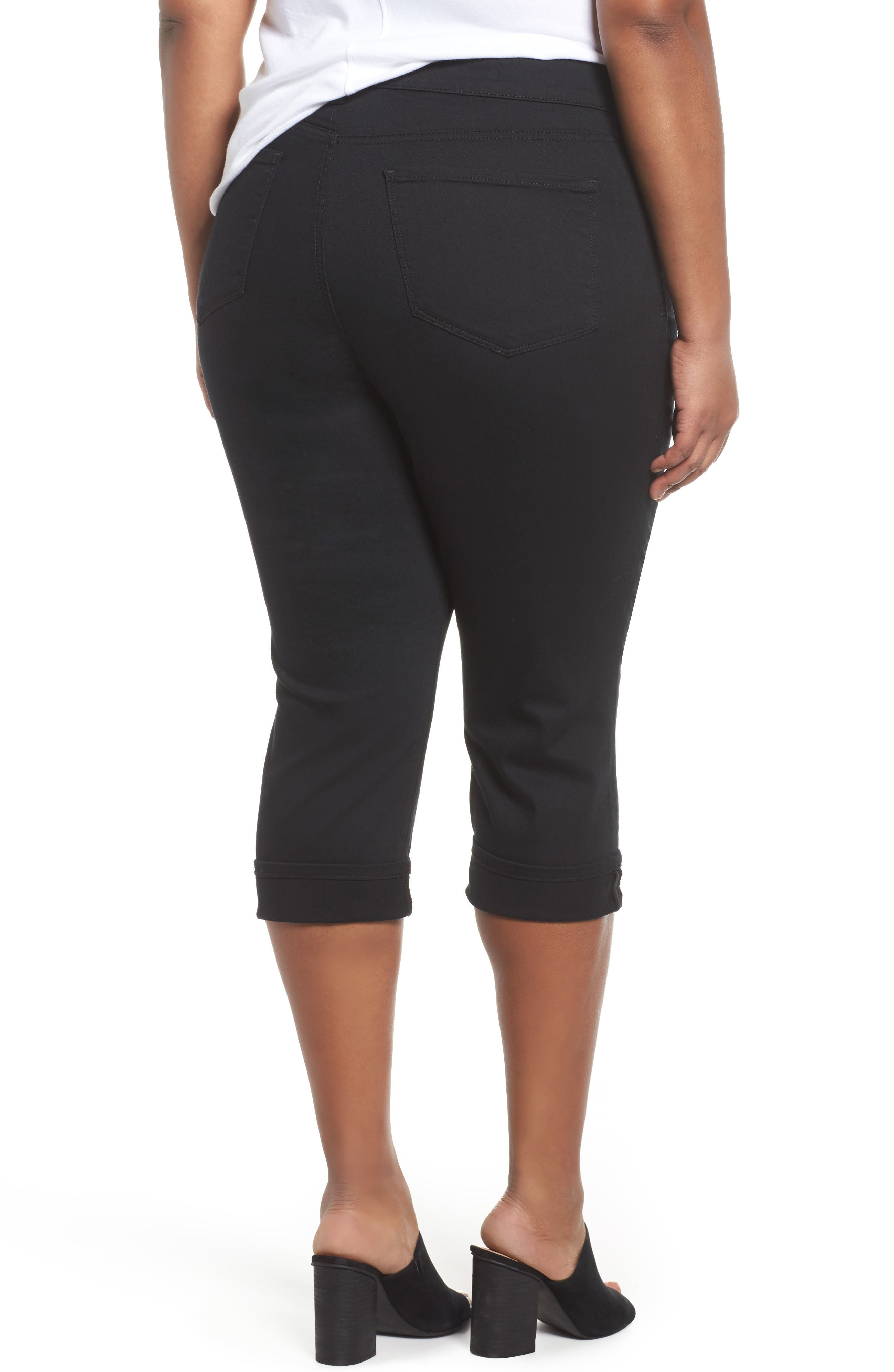 Marilyn Cropped Cuff Jeans,                             Alternate thumbnail 2, color,                             Black