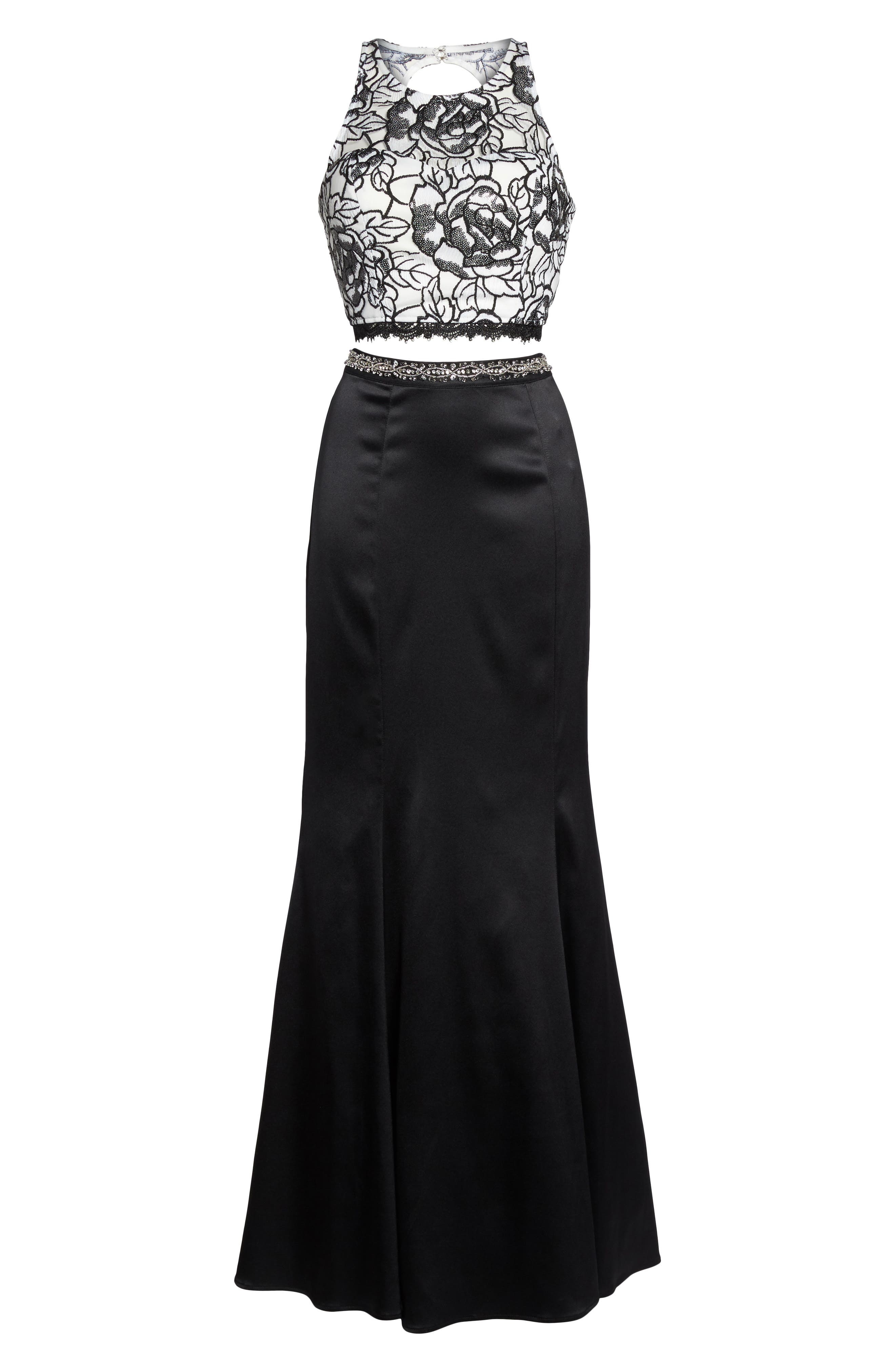 Sequined Lace Two-Piece Gown,                             Alternate thumbnail 6, color,                             Black/ Ivory