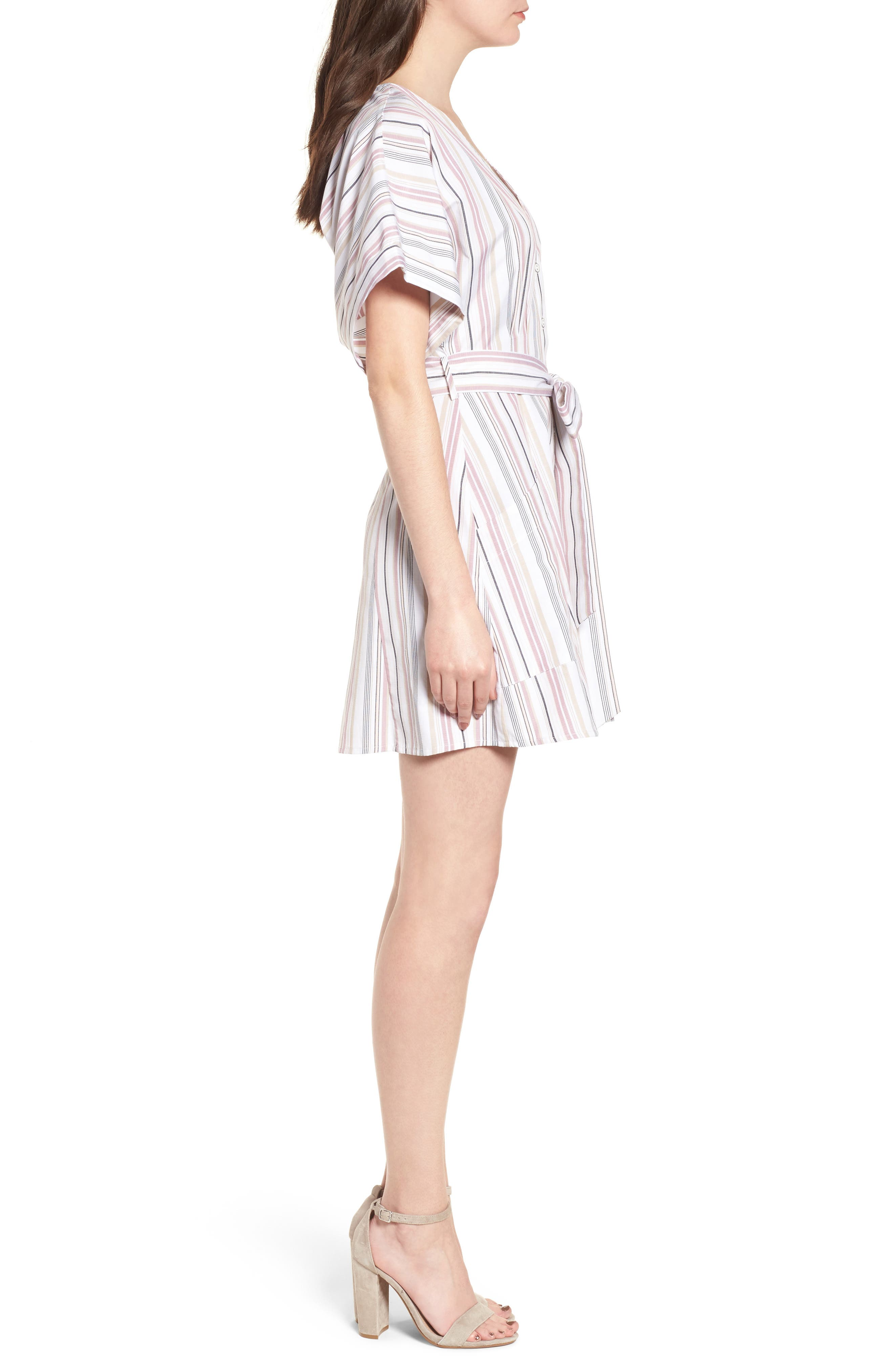 Button Front Dress,                             Alternate thumbnail 3, color,                             Pink Adobe Tracy Stripe
