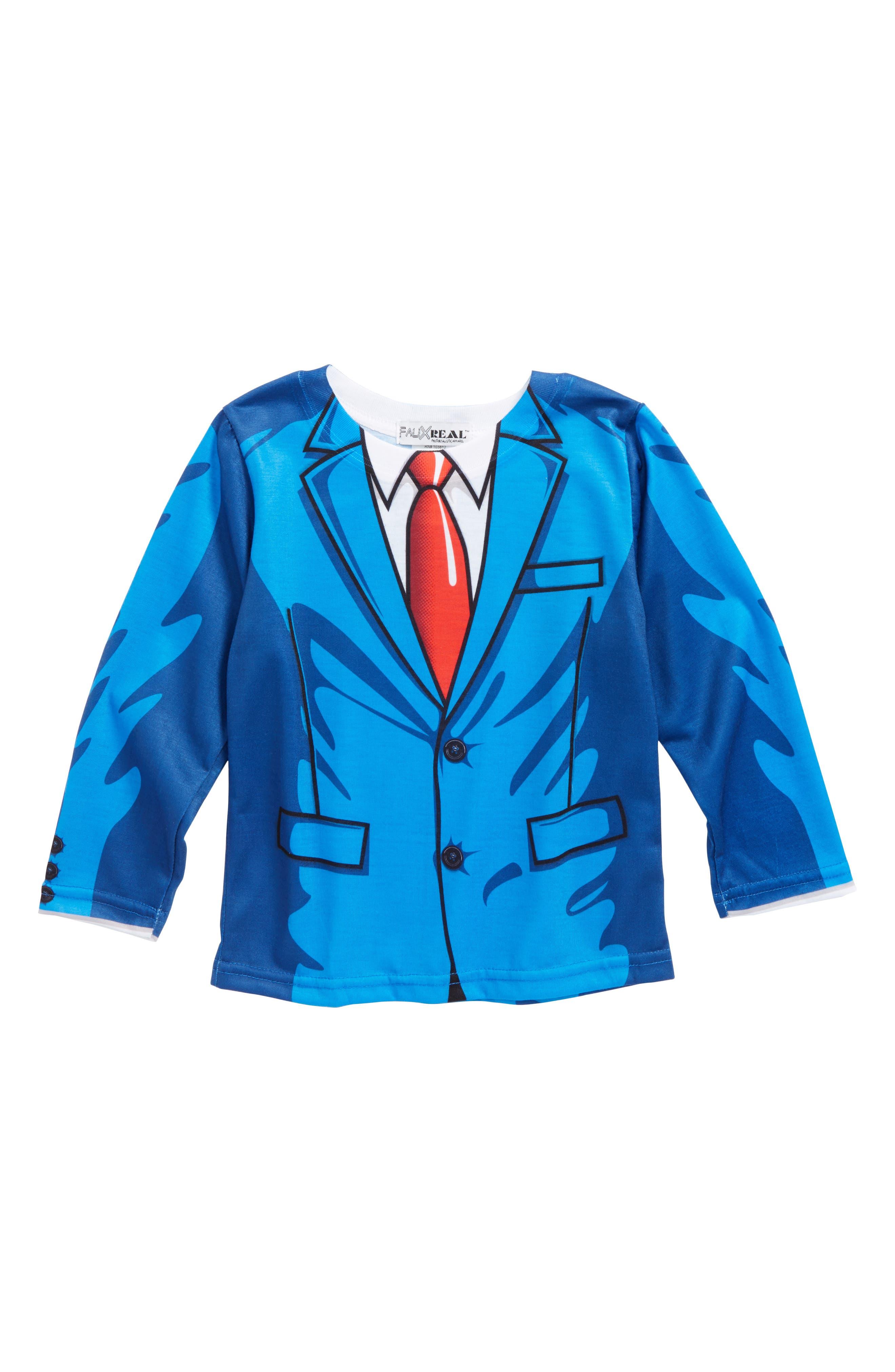 Cartoon Suit Screenprint T-Shirt,                             Main thumbnail 1, color,                             Blue