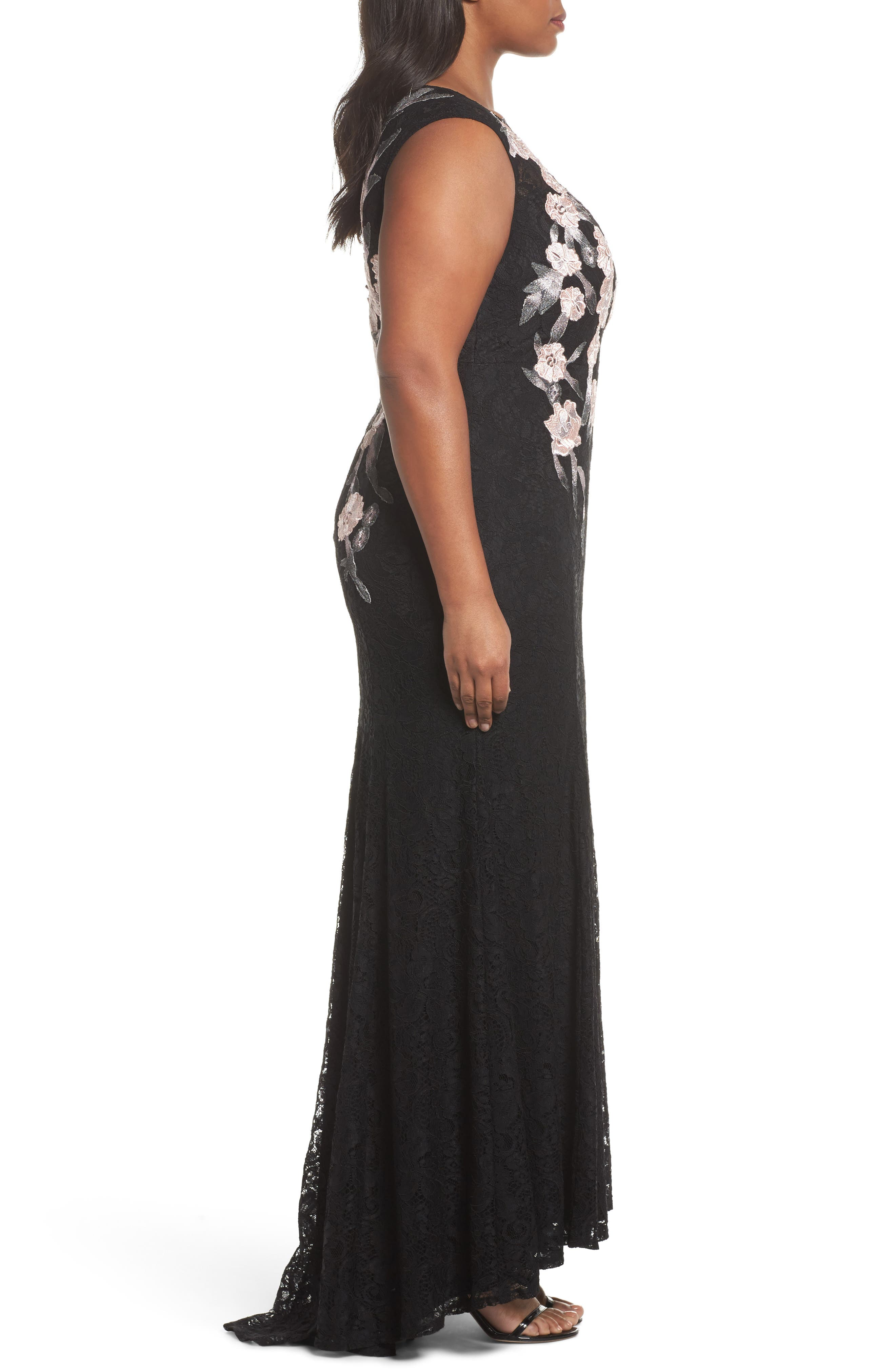 Floral Embroidered Lace Gown,                             Alternate thumbnail 3, color,                             Black/ Blush