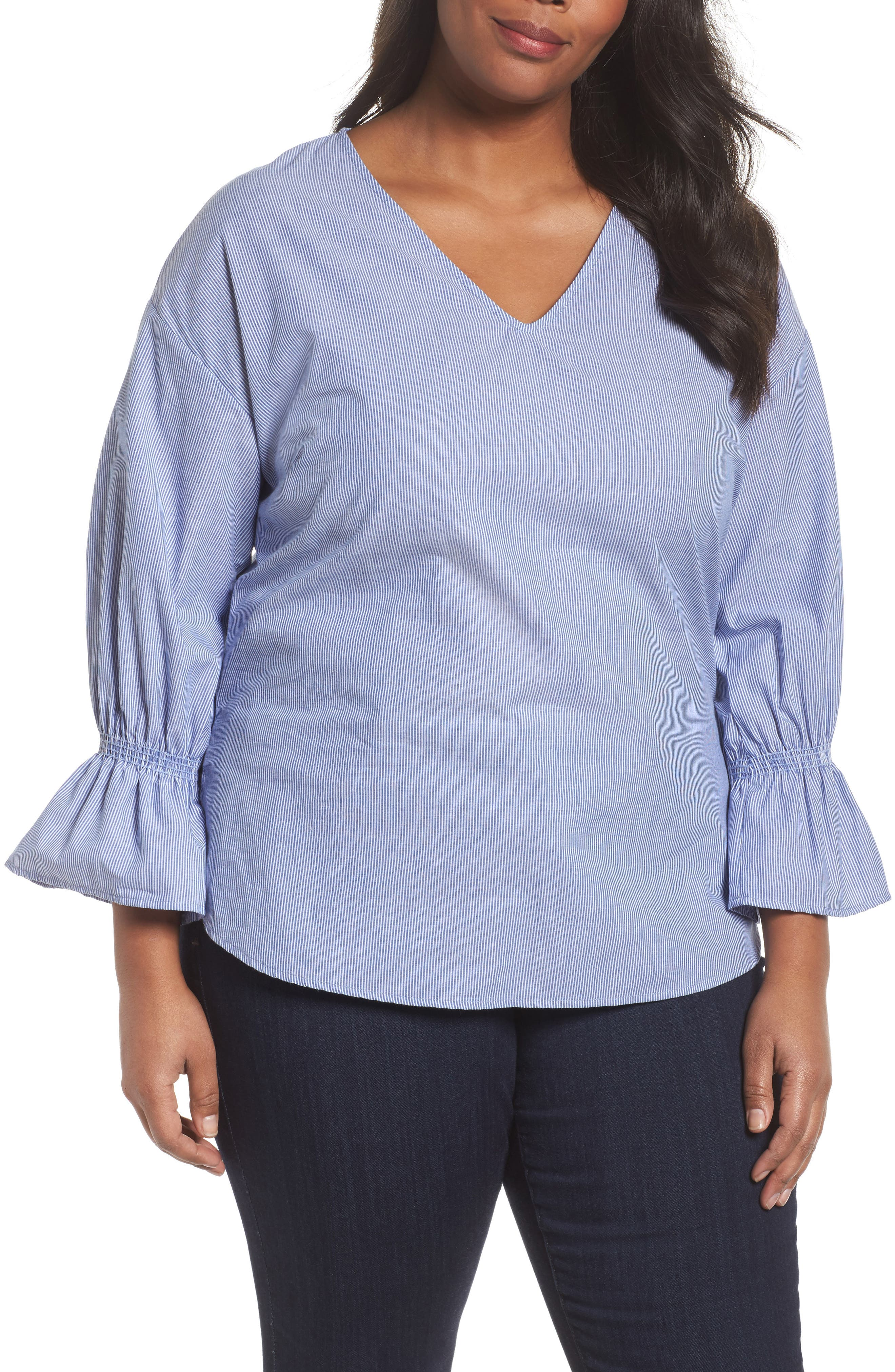 Main Image - Sejour Pinstripe Bell Cuff Top (Plus Size)