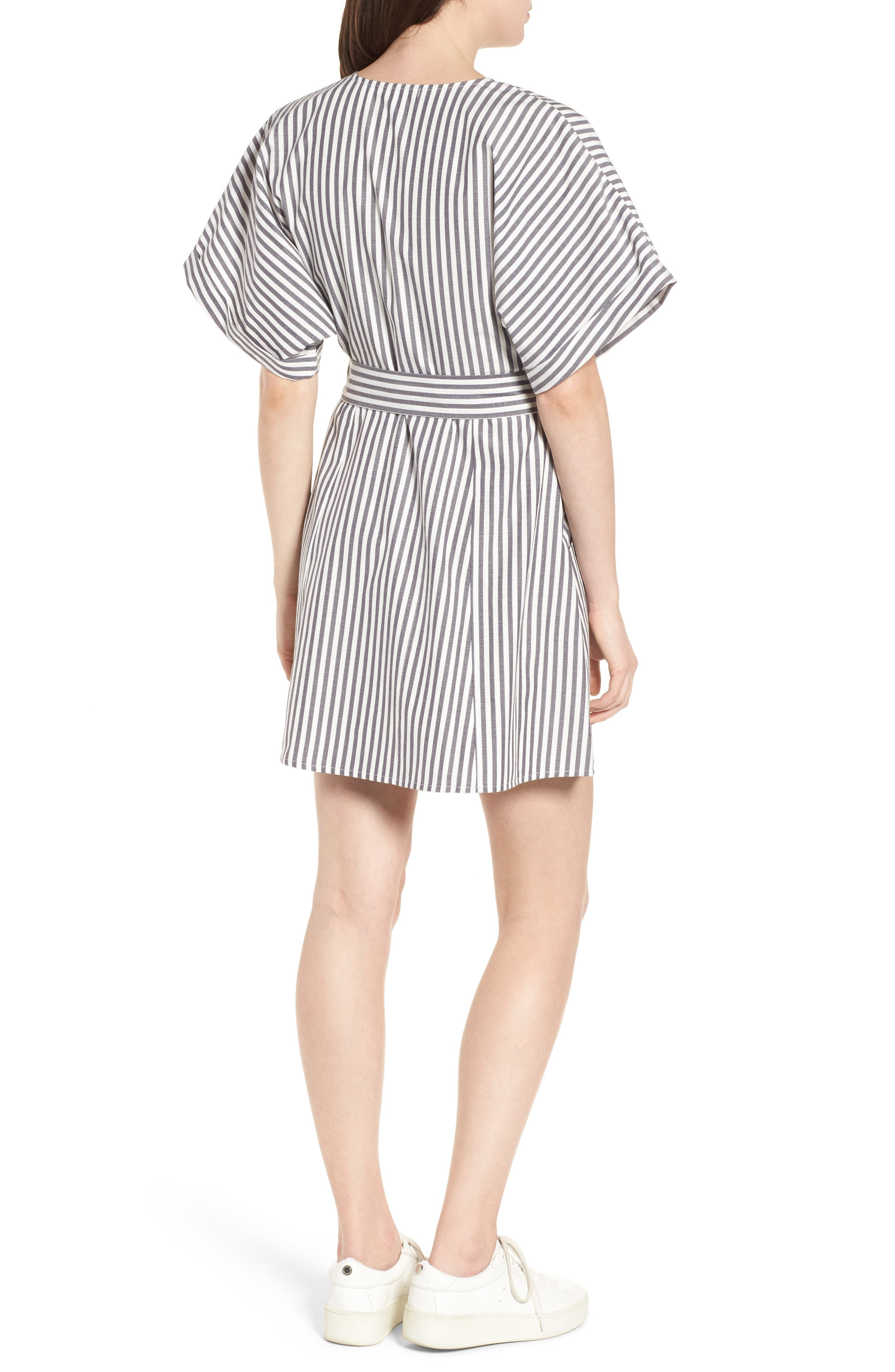 Button Front Dress,                             Alternate thumbnail 2, color,                             Black Jerry Stripe