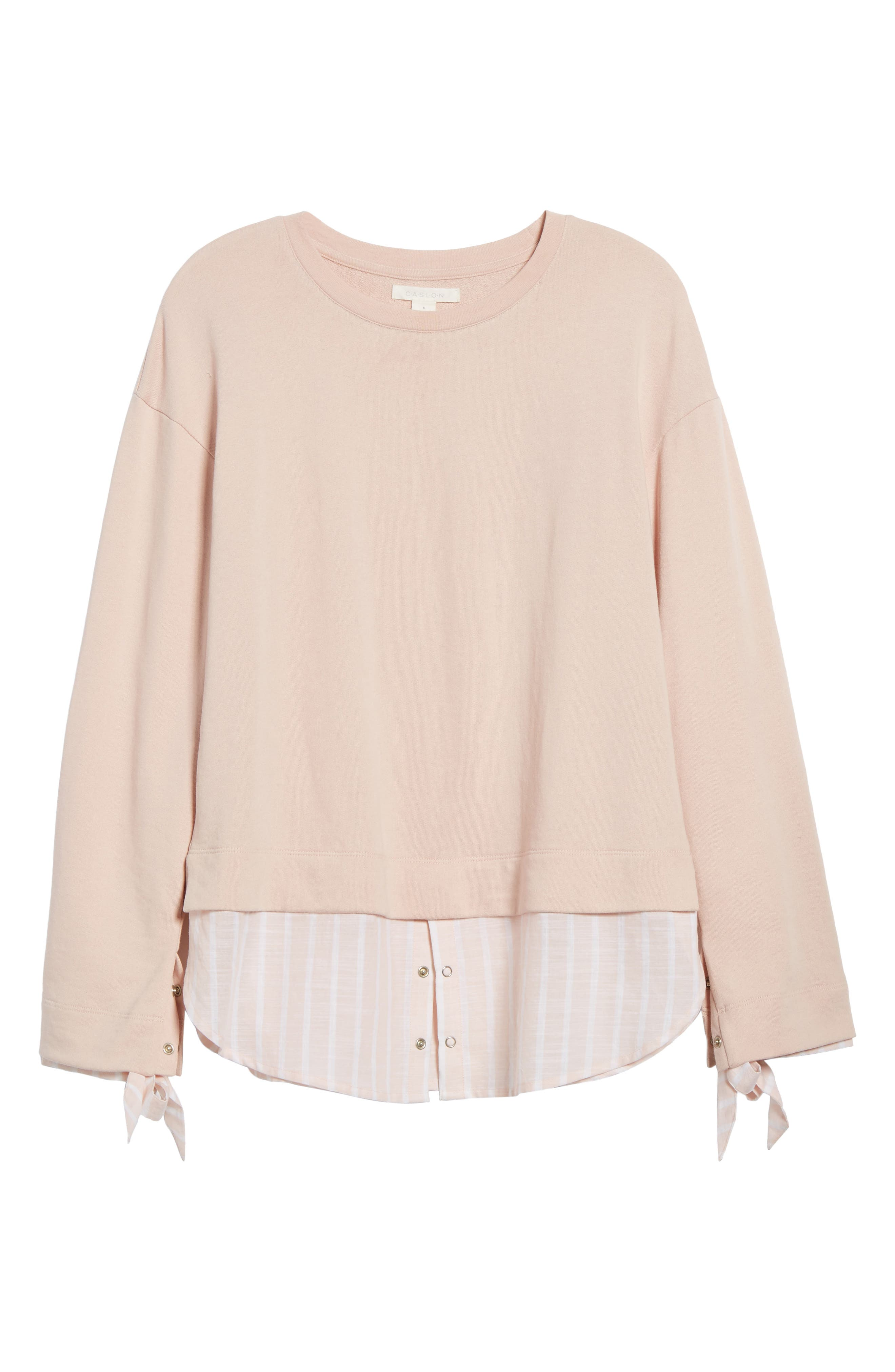 Woven Trim Layered Sweatshirt,                             Alternate thumbnail 6, color,                             Pink- Stripe Colorblock