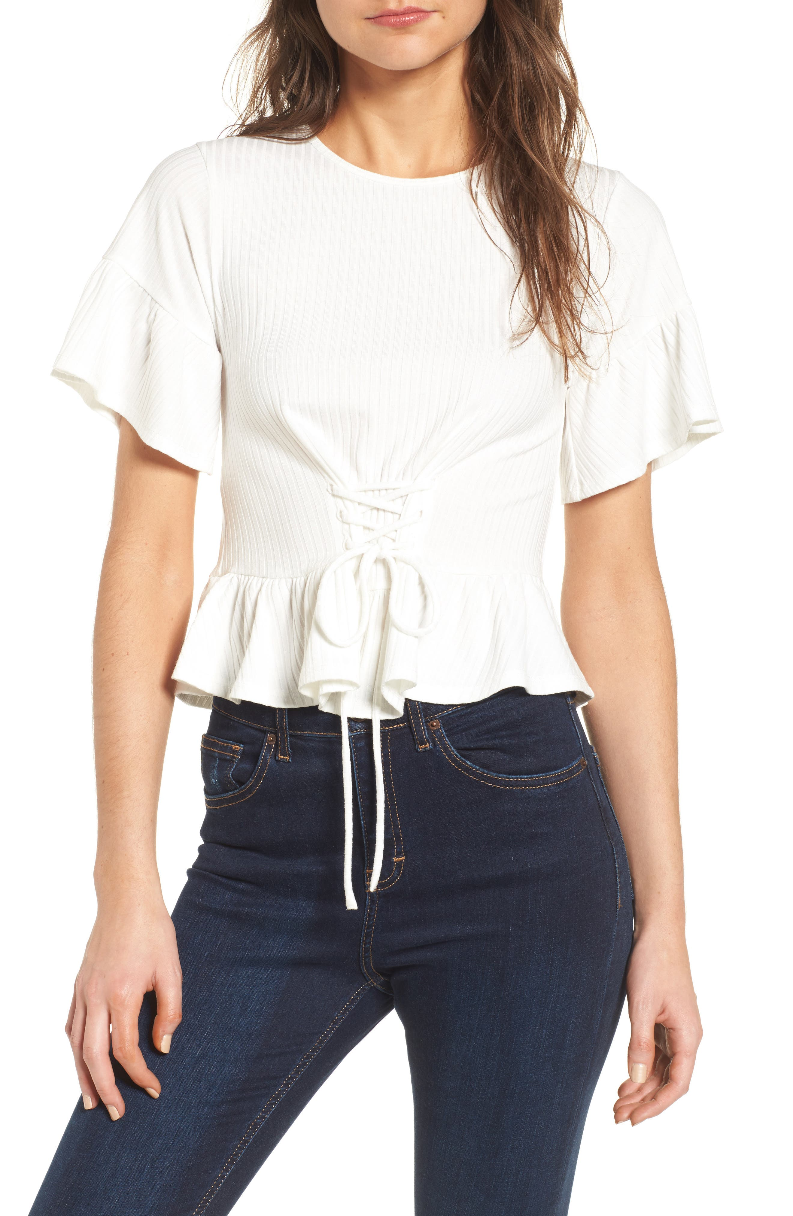 Lace-Up Tee,                             Main thumbnail 1, color,                             White