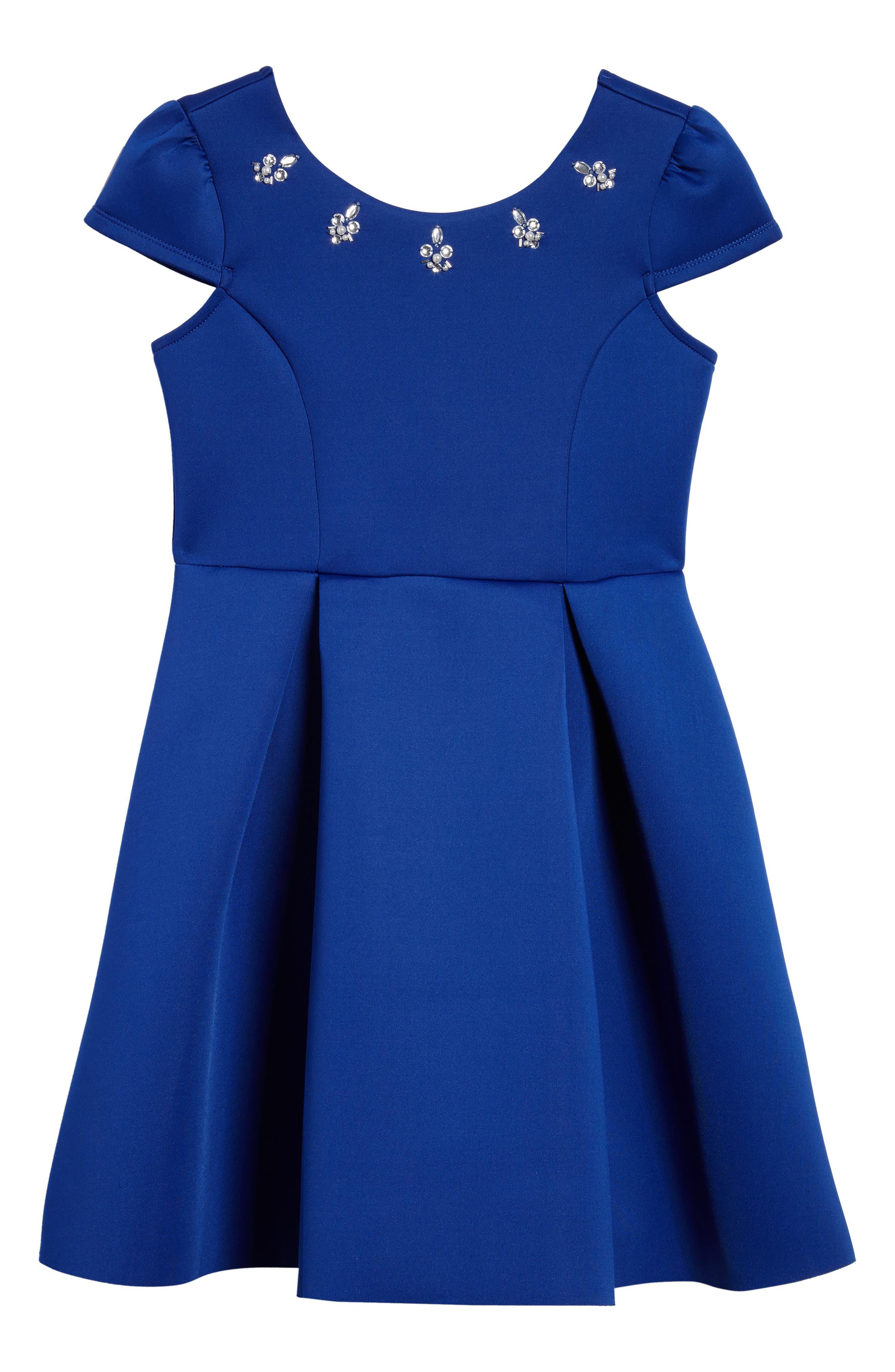 Embellished Scuba Dress,                             Main thumbnail 1, color,                             Royal