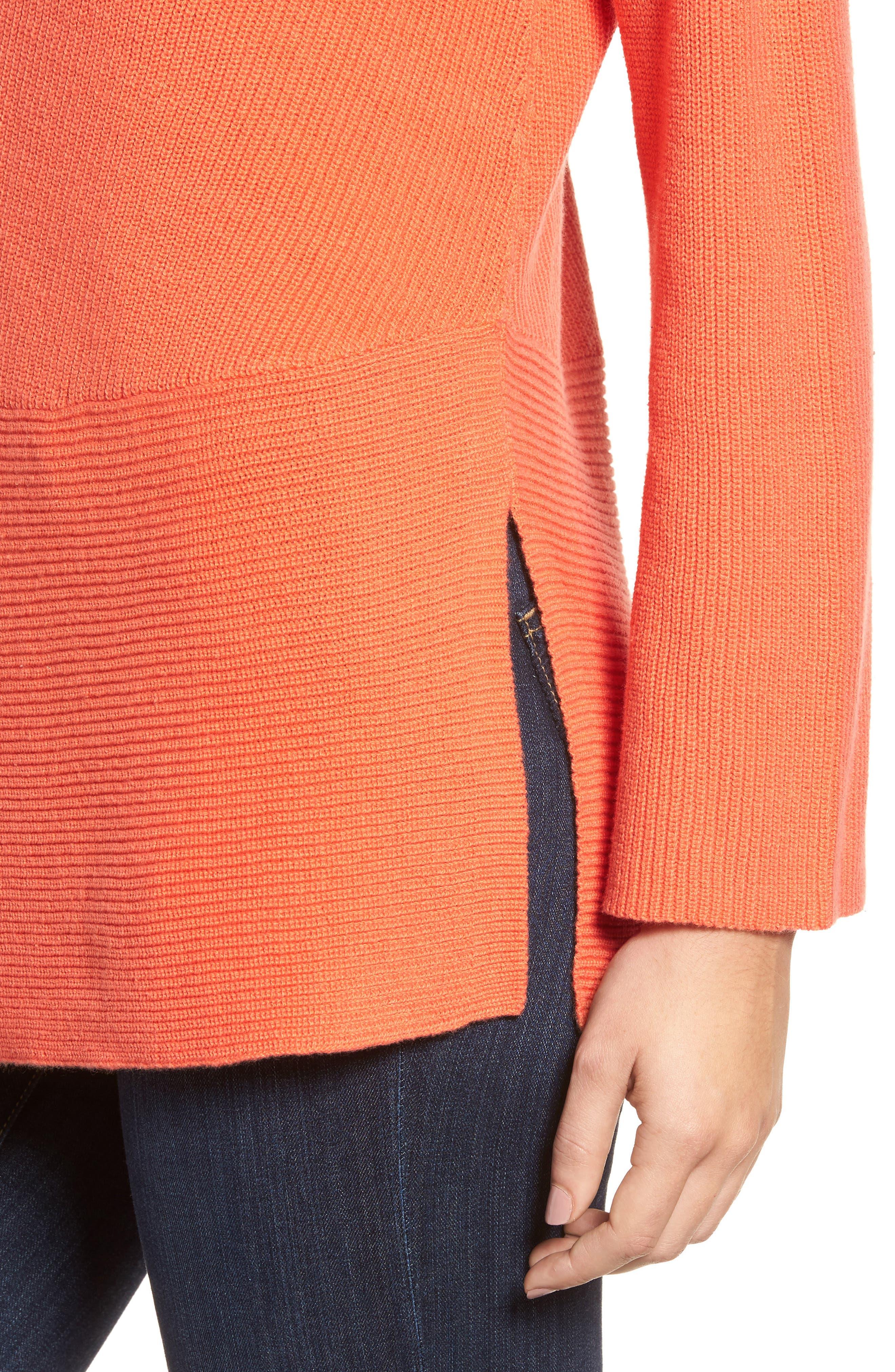 Ribbed Asymmetrical Hem Sweater,                             Alternate thumbnail 4, color,                             Cactus Rose