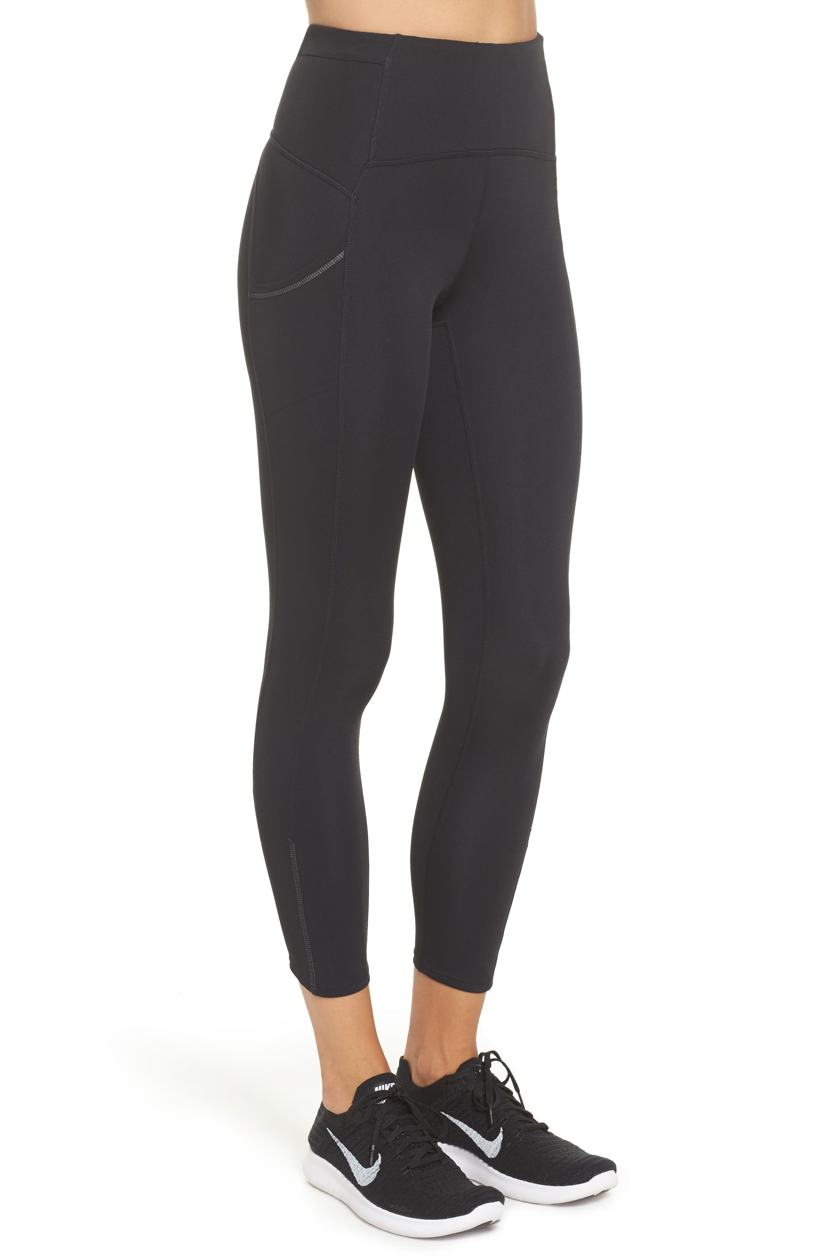 Sprint In High Waist Midi Leggings,                             Alternate thumbnail 3, color,                             Black