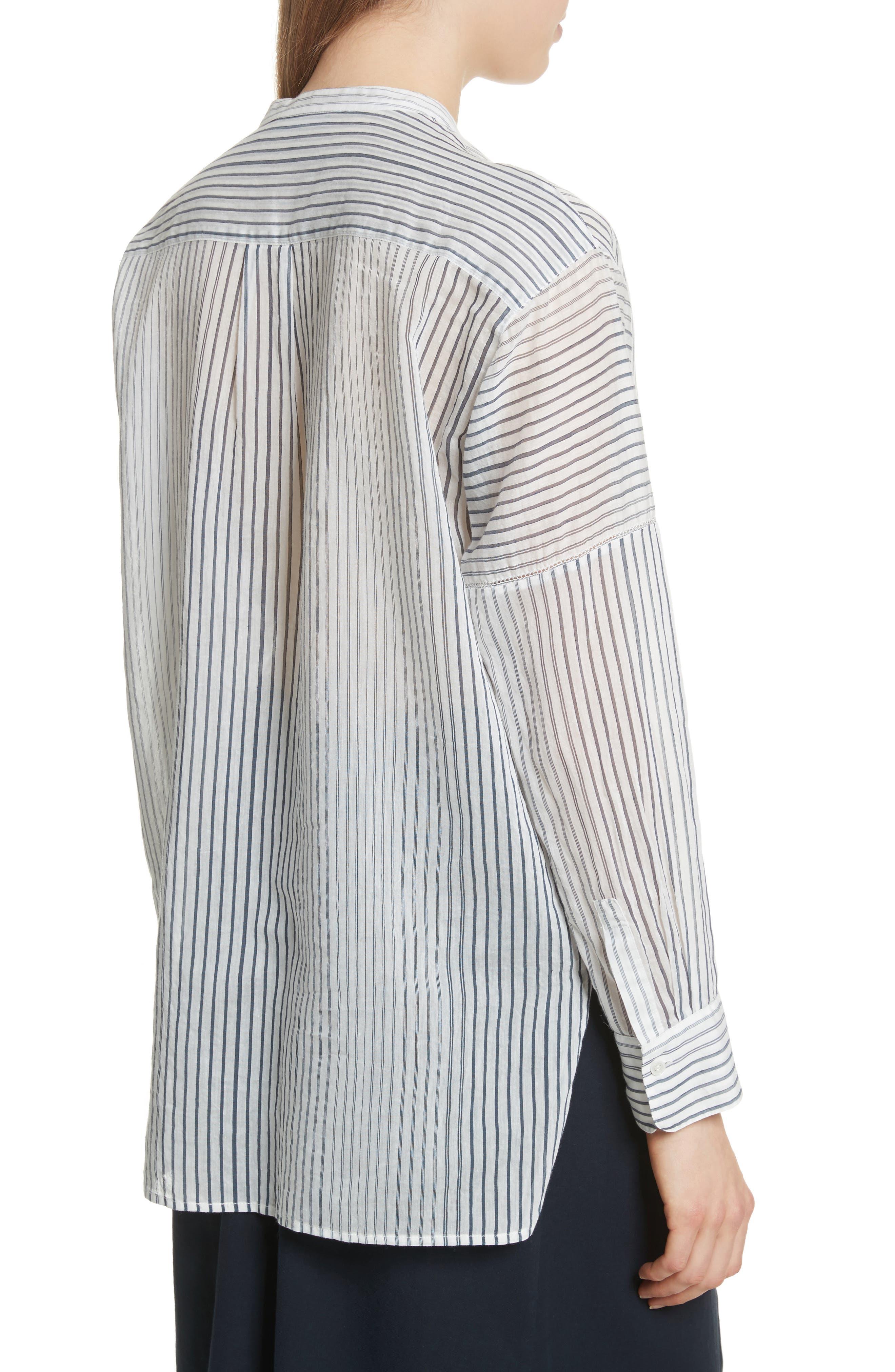 Pencil Stripe Cotton & Silk Tunic,                             Alternate thumbnail 2, color,                             Coastal