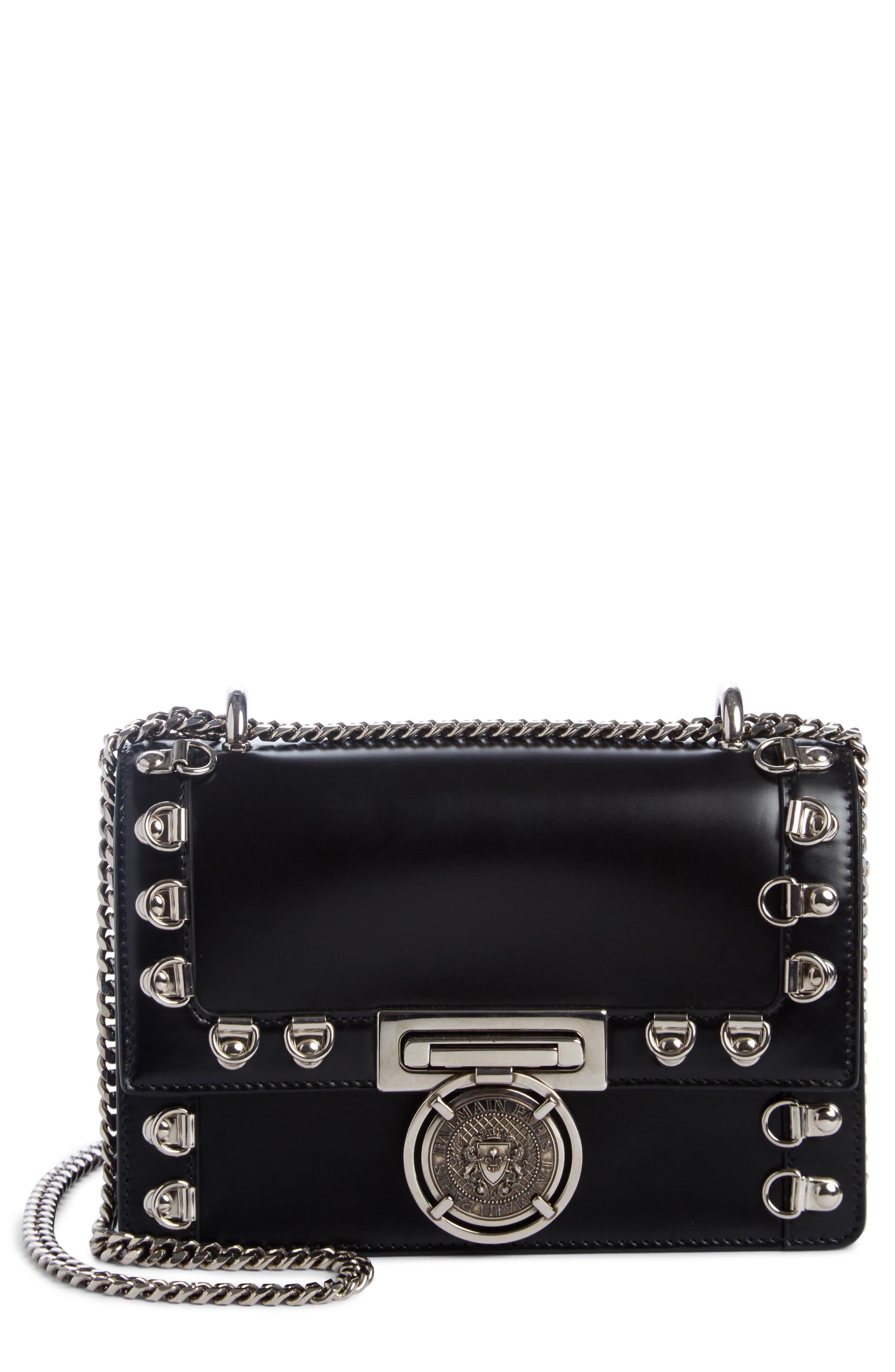 Alternate Image 1 Selected - Balmain Stud Glace Leather Box Shoulder Bag