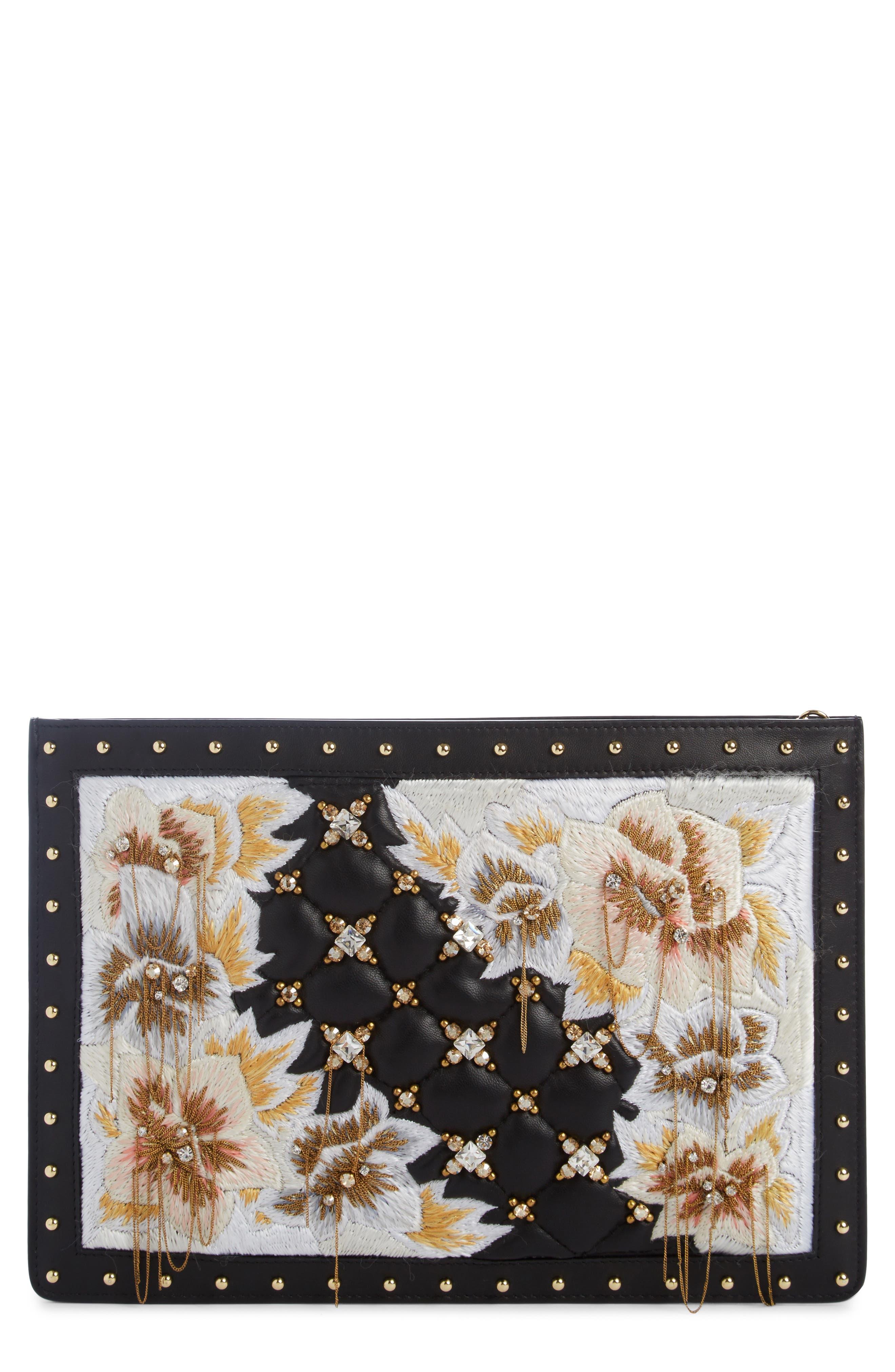 Mini Domaine Tribute Floral Embroidered Leather Bag,                             Main thumbnail 1, color,                             Noir