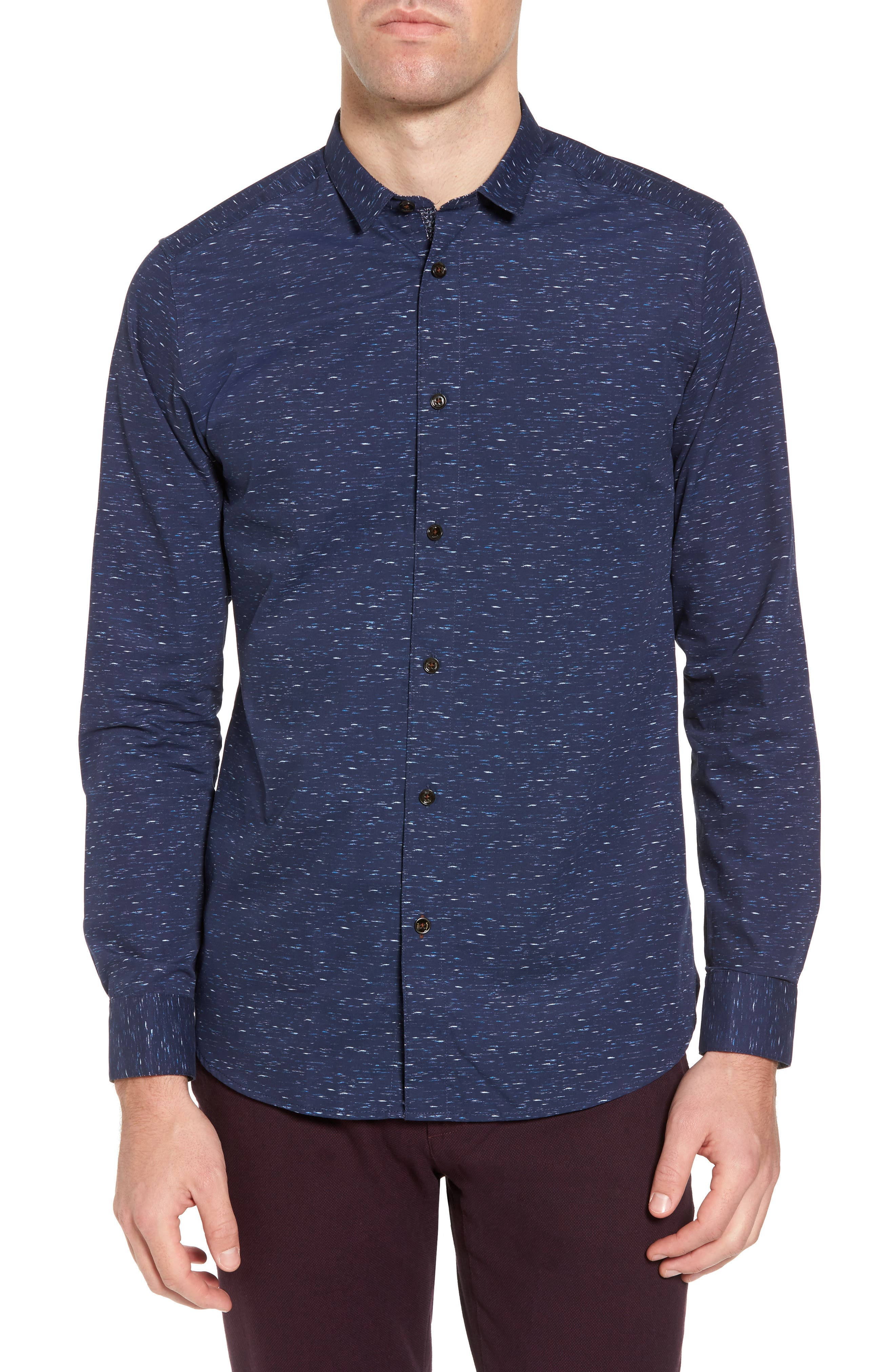 Nep Print Sport Shirt,                         Main,                         color, Navy