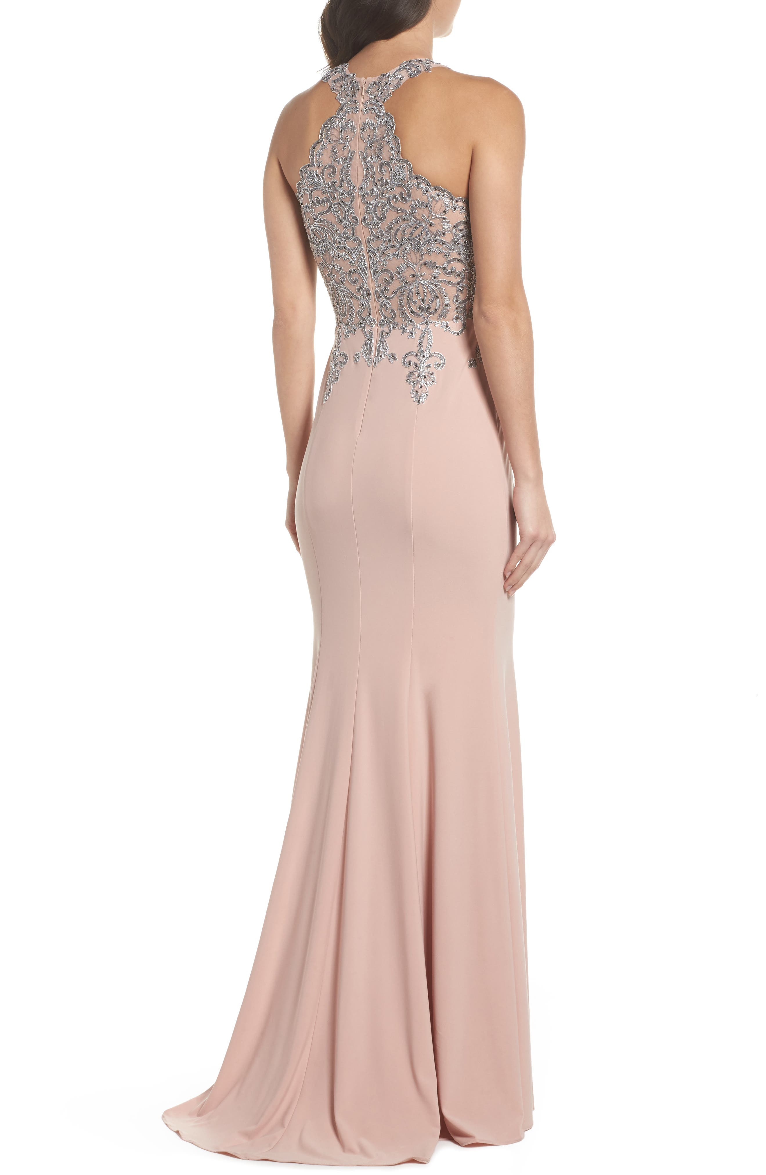Embellished Embroidered Gown,                             Alternate thumbnail 2, color,                             Blush/ Gunmetal
