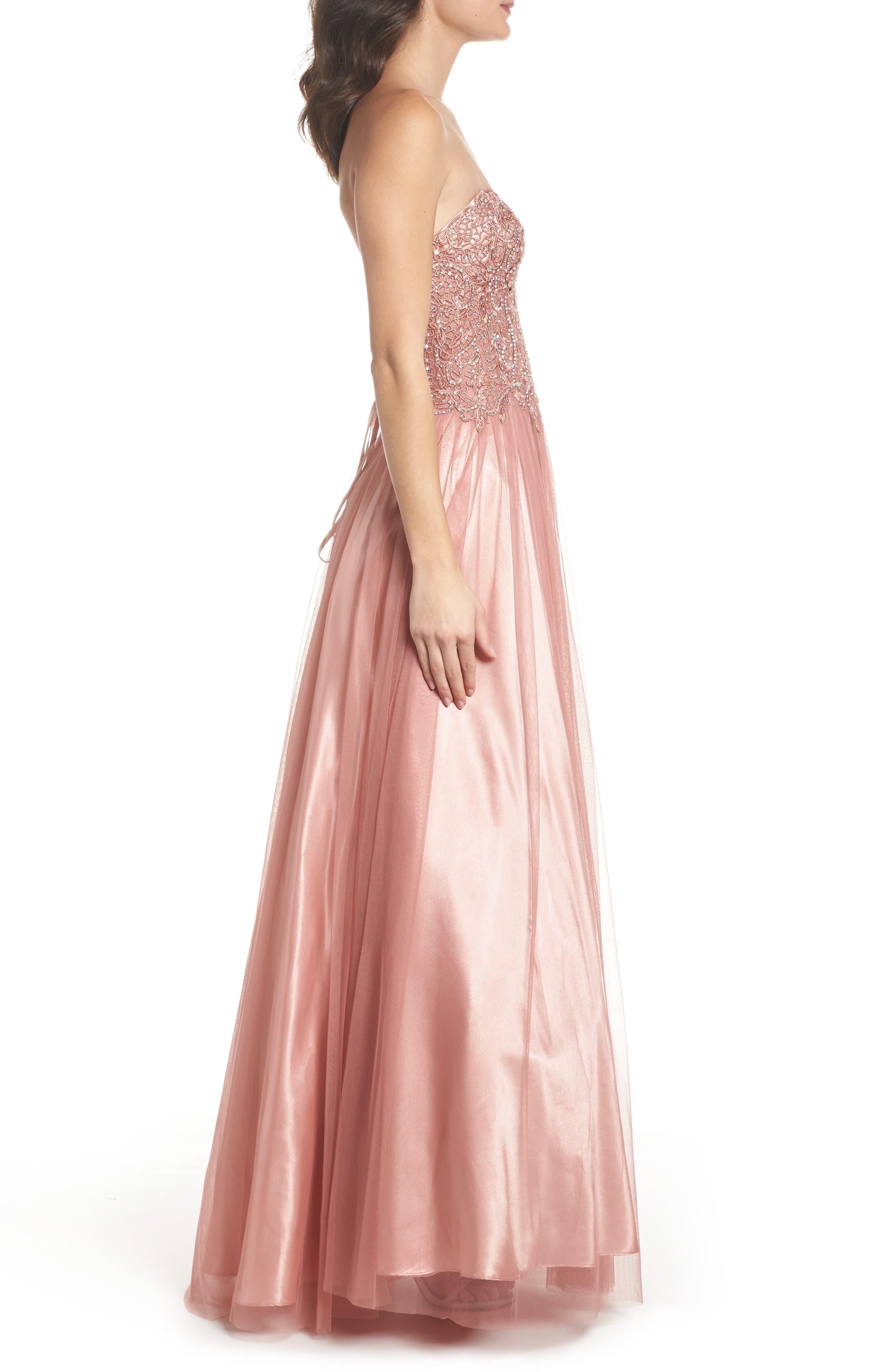 Embellished Corset Ballgown,                             Alternate thumbnail 3, color,                             Rose