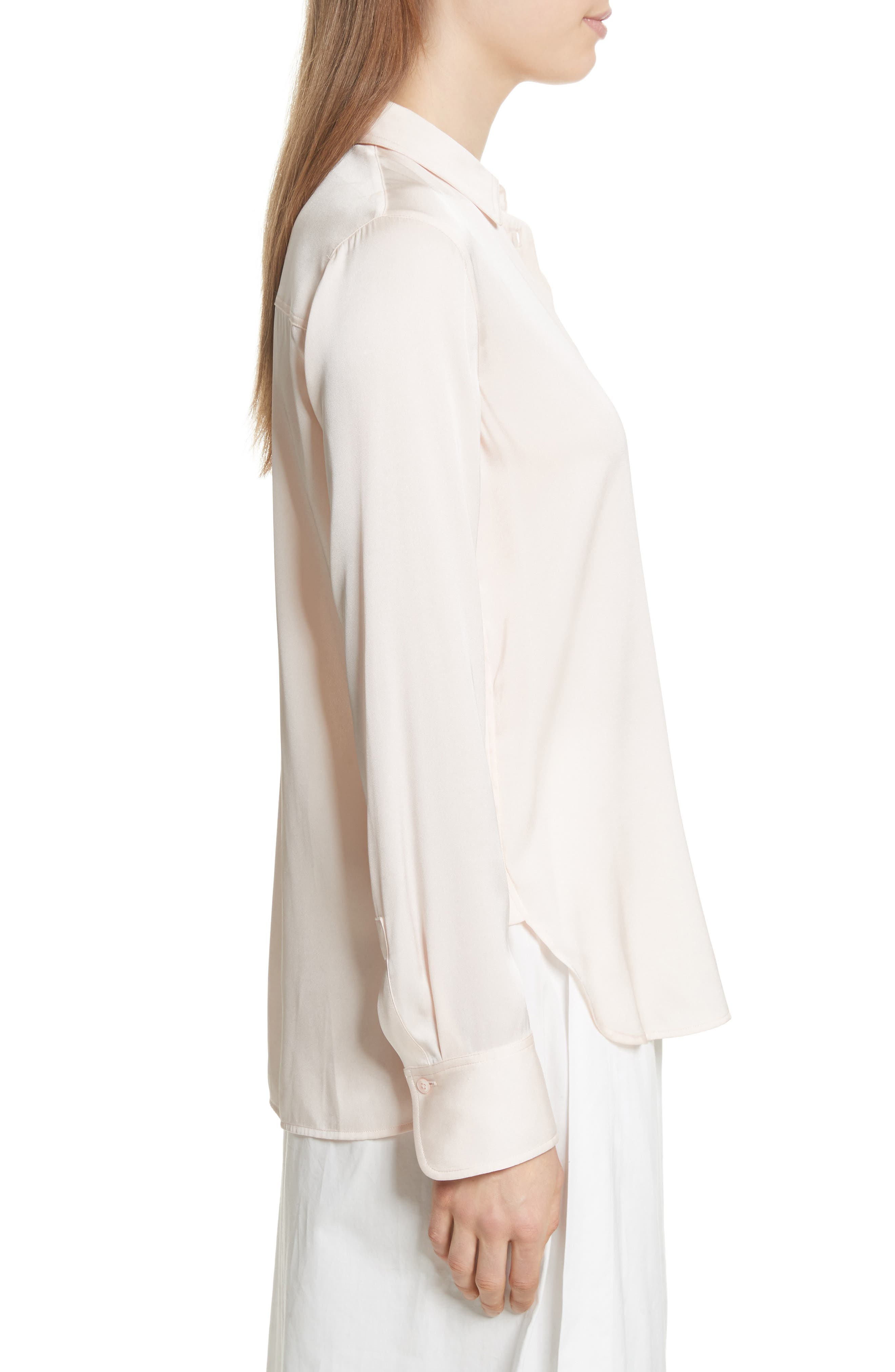 Fitted Stretch Silk Blouse,                             Alternate thumbnail 3, color,                             Rosewater