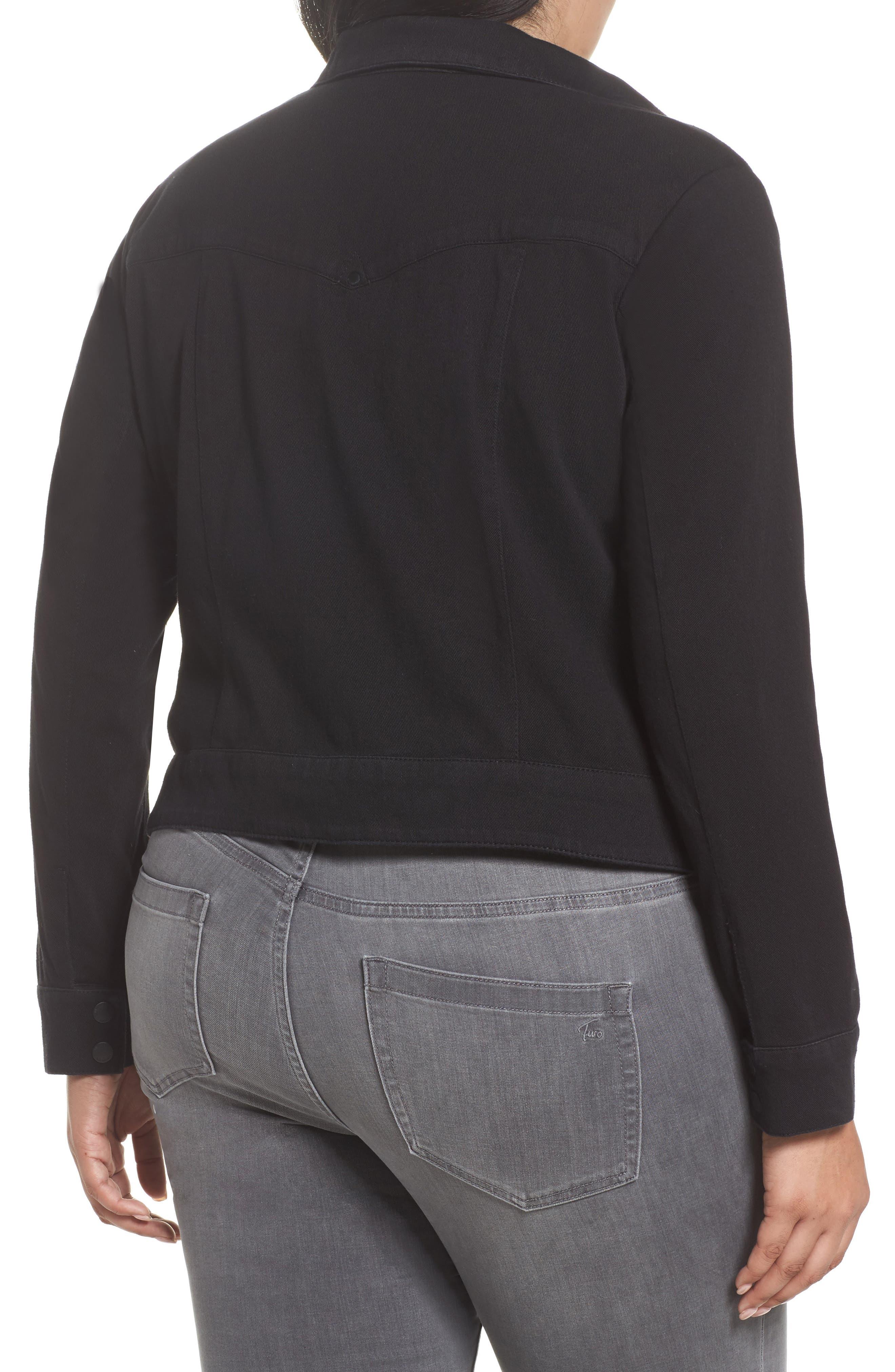 Alternate Image 2  - Liverpool Jeans Company Zip Knit Moto Jacket (Plus Size)