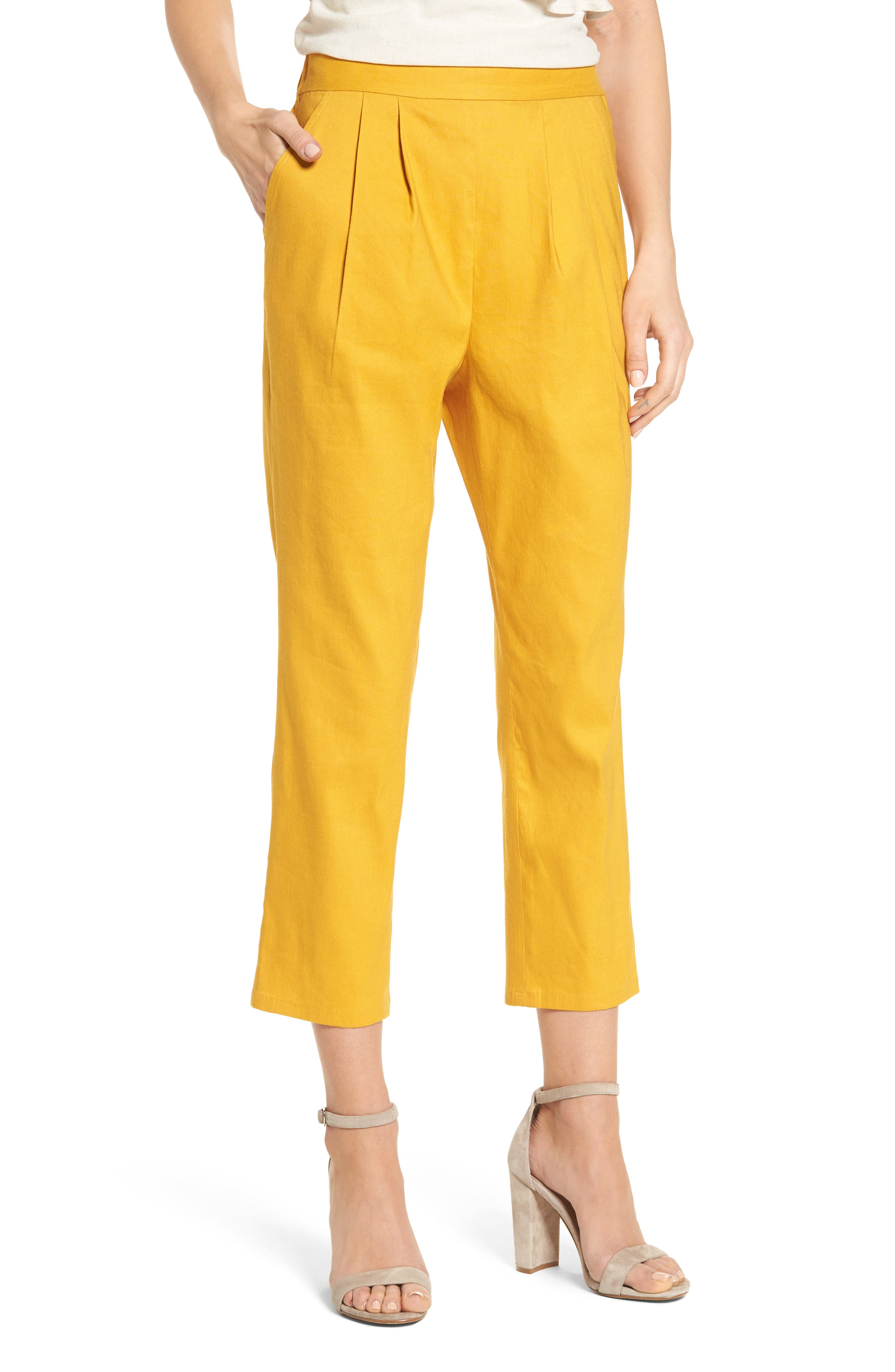 Pleat Front Crop Pants,                             Main thumbnail 1, color,                             Yellow Mineral
